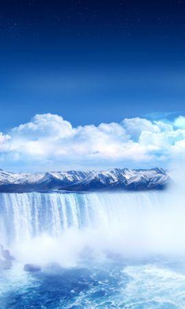 25179 скачать обои Пейзаж, Фэнтези, Горы, Облака, Луна, Водопады - заставки и картинки бесплатно