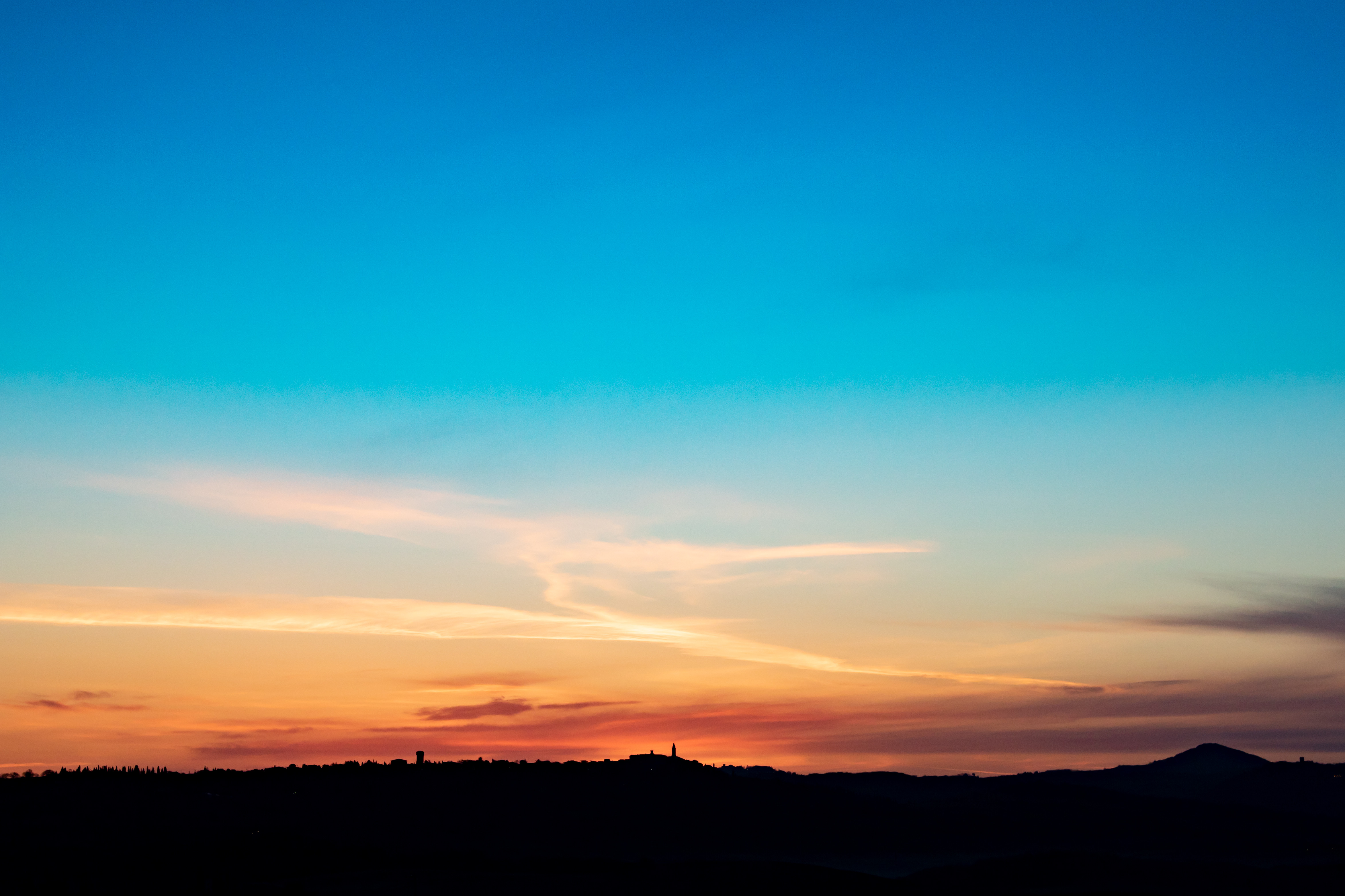109083 download wallpaper Nature, Hill, Silhouette, Dusk, Twilight, Sunset, Sky screensavers and pictures for free