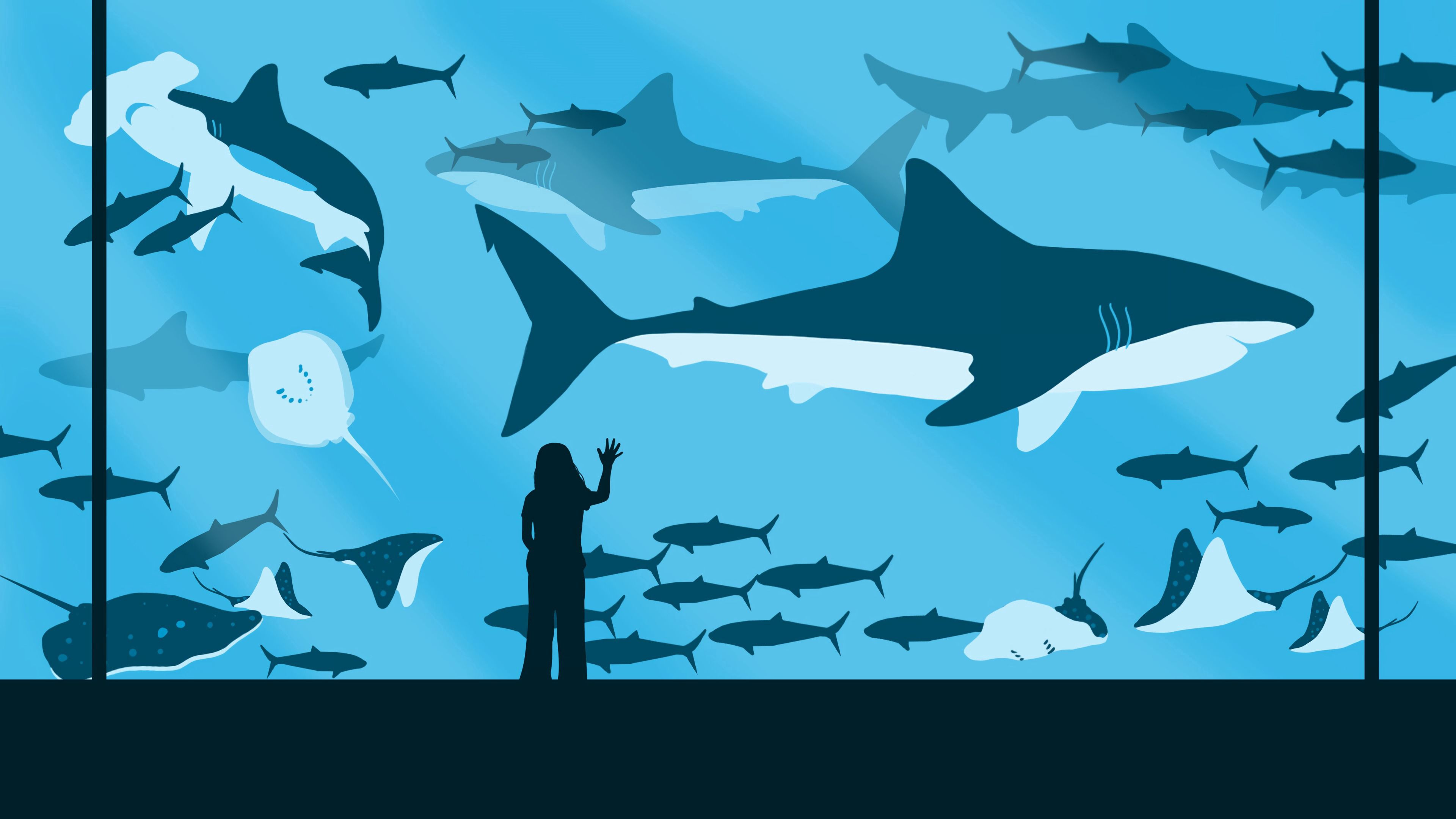 120646 download wallpaper Vector, Girl, Oceanarium, Fishes, Sharks screensavers and pictures for free