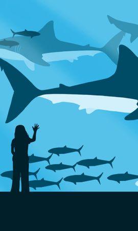 120646 baixar papel de parede Vetor, Menina, Garota, Oceanário, Peixes, Sharks - protetores de tela e imagens gratuitamente