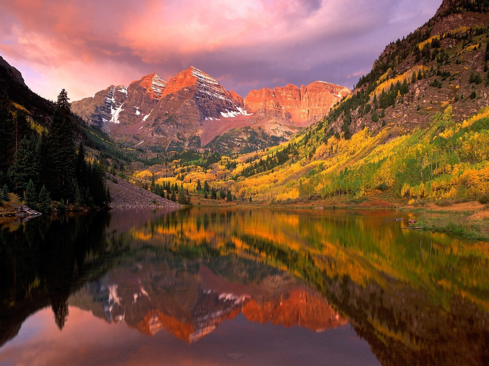 754 download wallpaper Landscape, Water, Sky, Mountains, Autumn screensavers and pictures for free