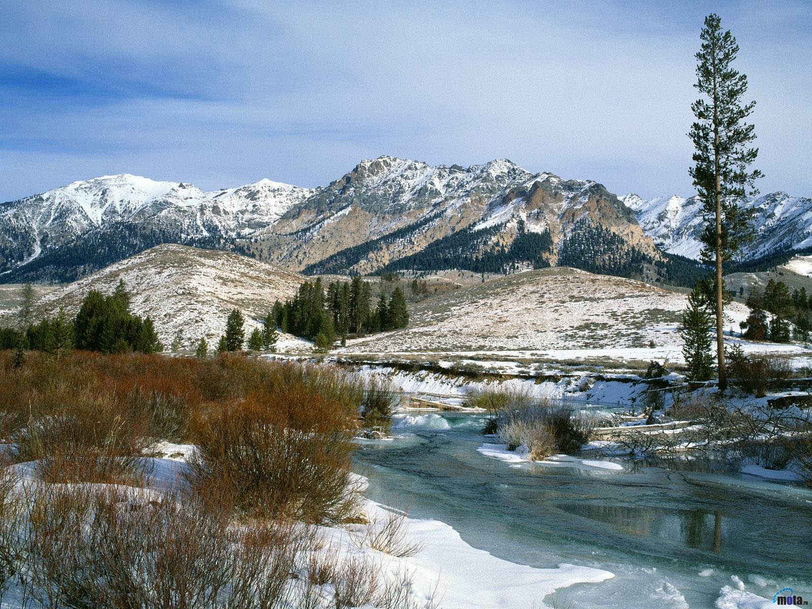 2064 скачать обои Пейзаж, Зима, Река, Горы, Снег - заставки и картинки бесплатно