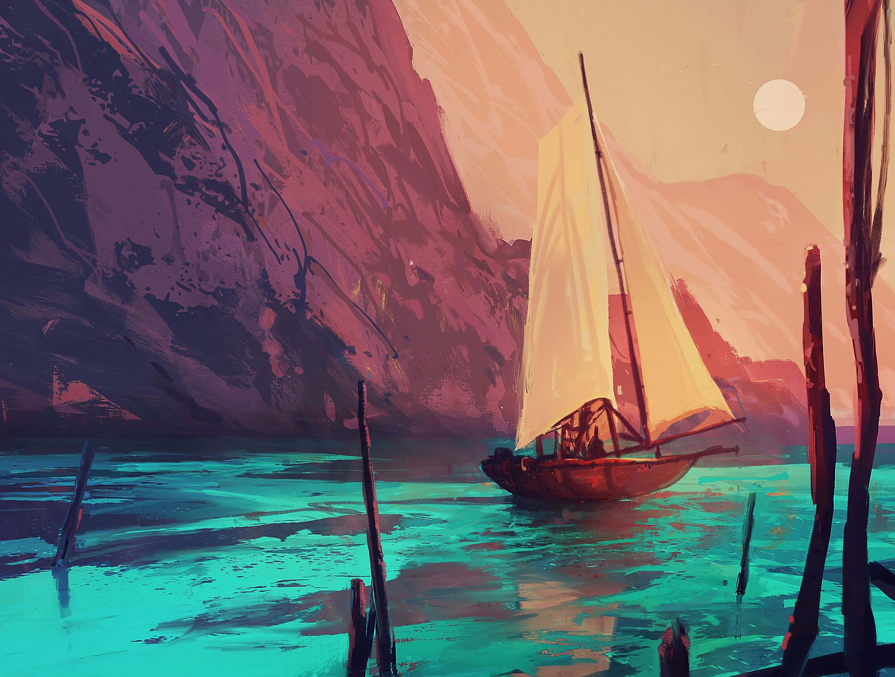 75603 Screensavers and Wallpapers Boat for phone. Download Art, Boat, Paints, Sail, Ship pictures for free
