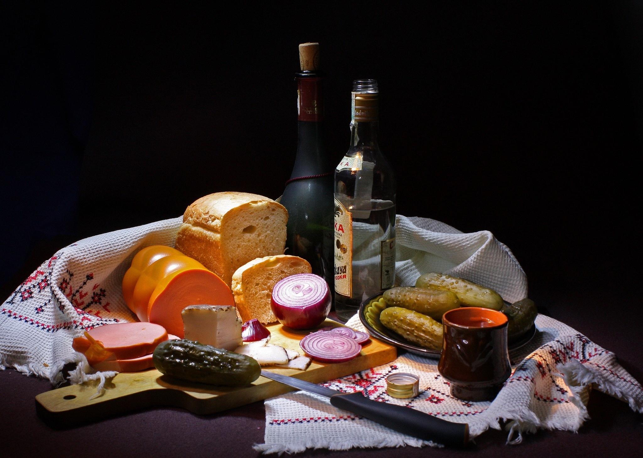 75421 Заставки и Обои Напитки на телефон. Скачать Напитки, Еда, Хлеб, Огурцы, Колбаса картинки бесплатно