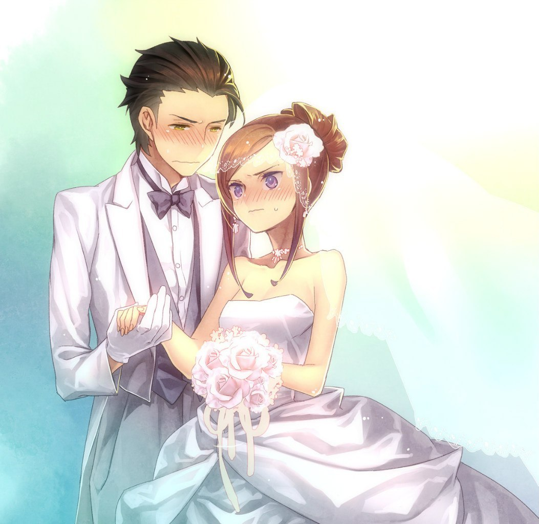 19375 download wallpaper Anime, Girls, Men, Love, Wedding screensavers and pictures for free