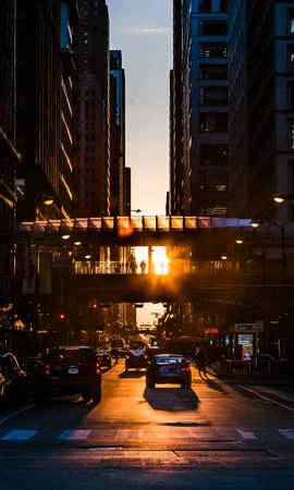 121005 download wallpaper City, Street, Traffic, Movement, Sunset, Transport, Cities screensavers and pictures for free