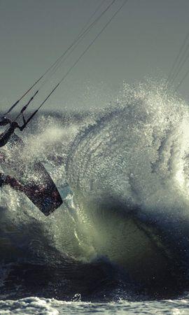 92681壁紙のダウンロードスポーツ, カイトサーフィン, アスリート, スポーツマン, 海, 海洋, 大洋, 波-スクリーンセーバーと写真を無料で