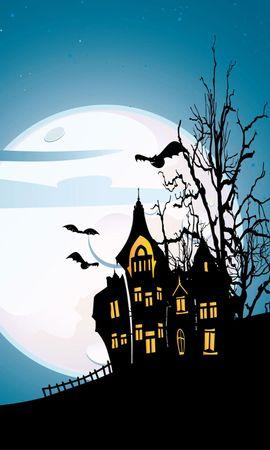 21901 скачать обои Праздники, Дома, Хэллоуин (Halloween), Рисунки - заставки и картинки бесплатно