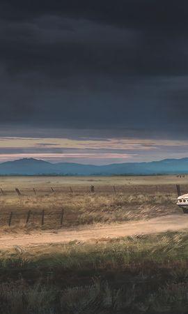 99394 скачать обои Арт, Ранчо, Автомобиль, Здание, Загородный, Дождевые Тучи, Пейзаж - заставки и картинки бесплатно