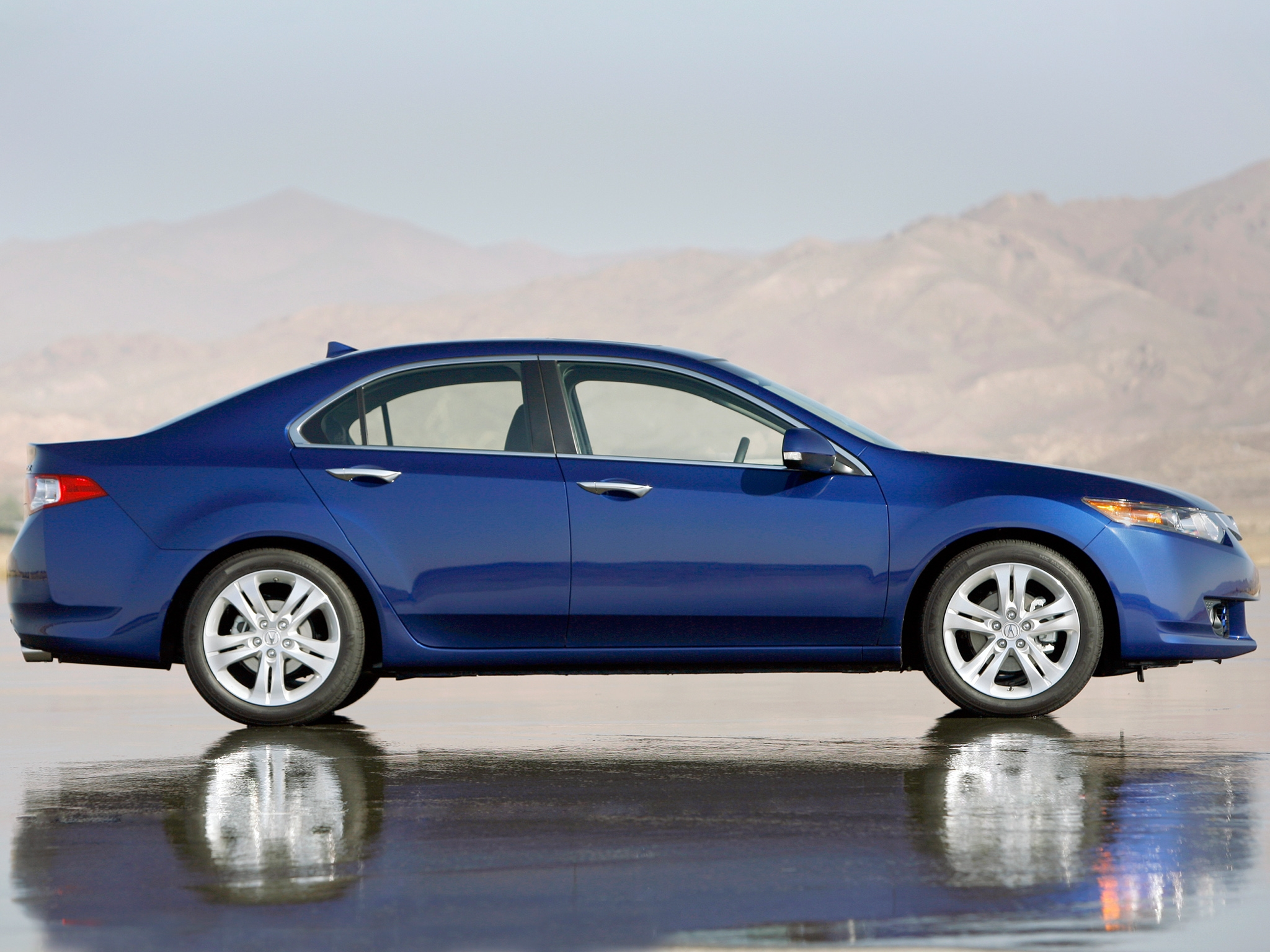 99299 download wallpaper Cars, Acura, Tsx, V6, Side View, Style, Auto, Akura, Reflection, Wet Asphalt, Mountains screensavers and pictures for free