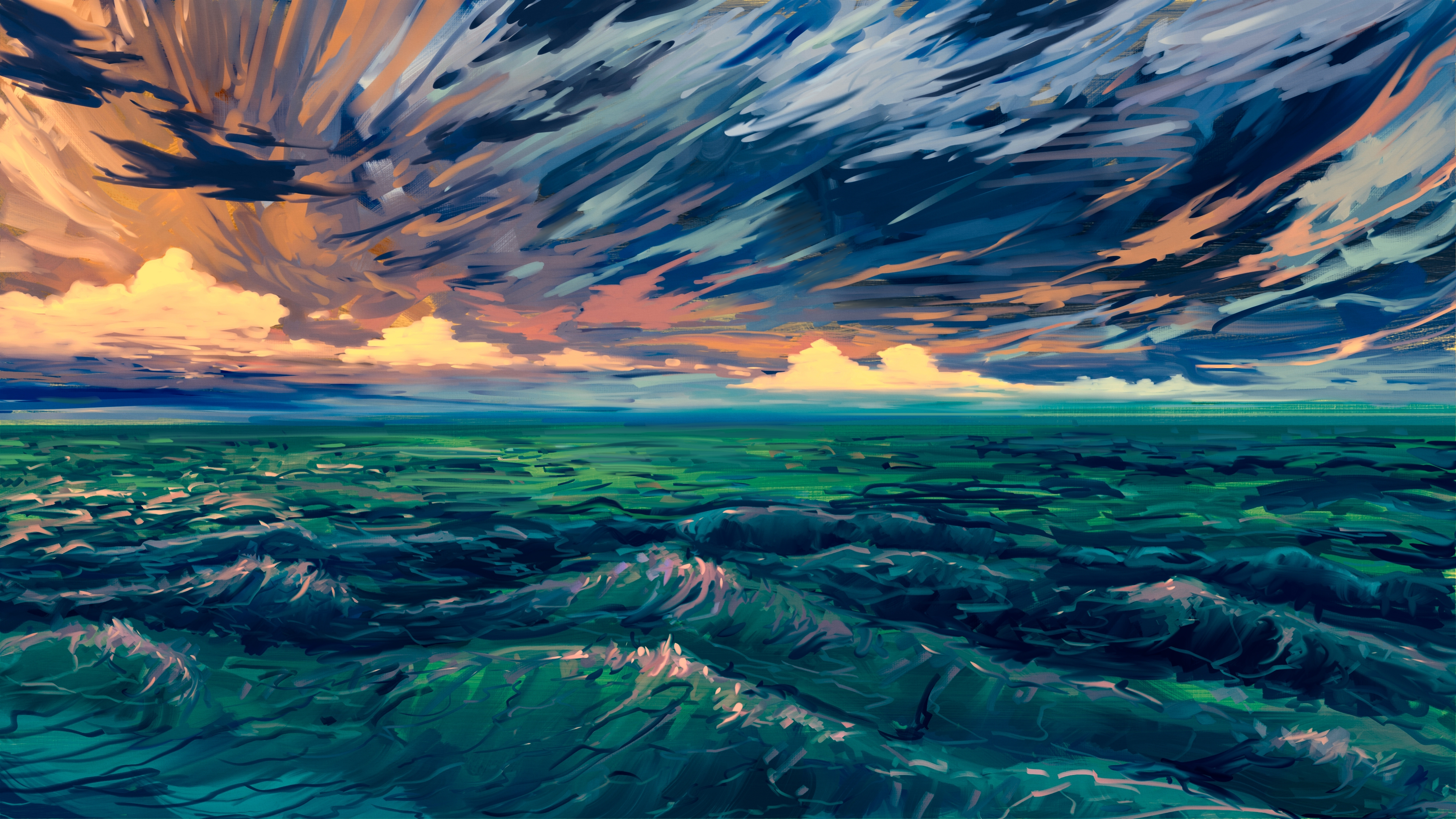 76776 Заставки и Обои Волны на телефон. Скачать Море, Арт, Прибой, Горизонт, Волны картинки бесплатно