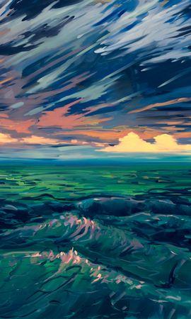 76776 baixar papel de parede Mar, Arte, Surf, Surfar, Horizonte, Ondas - protetores de tela e imagens gratuitamente