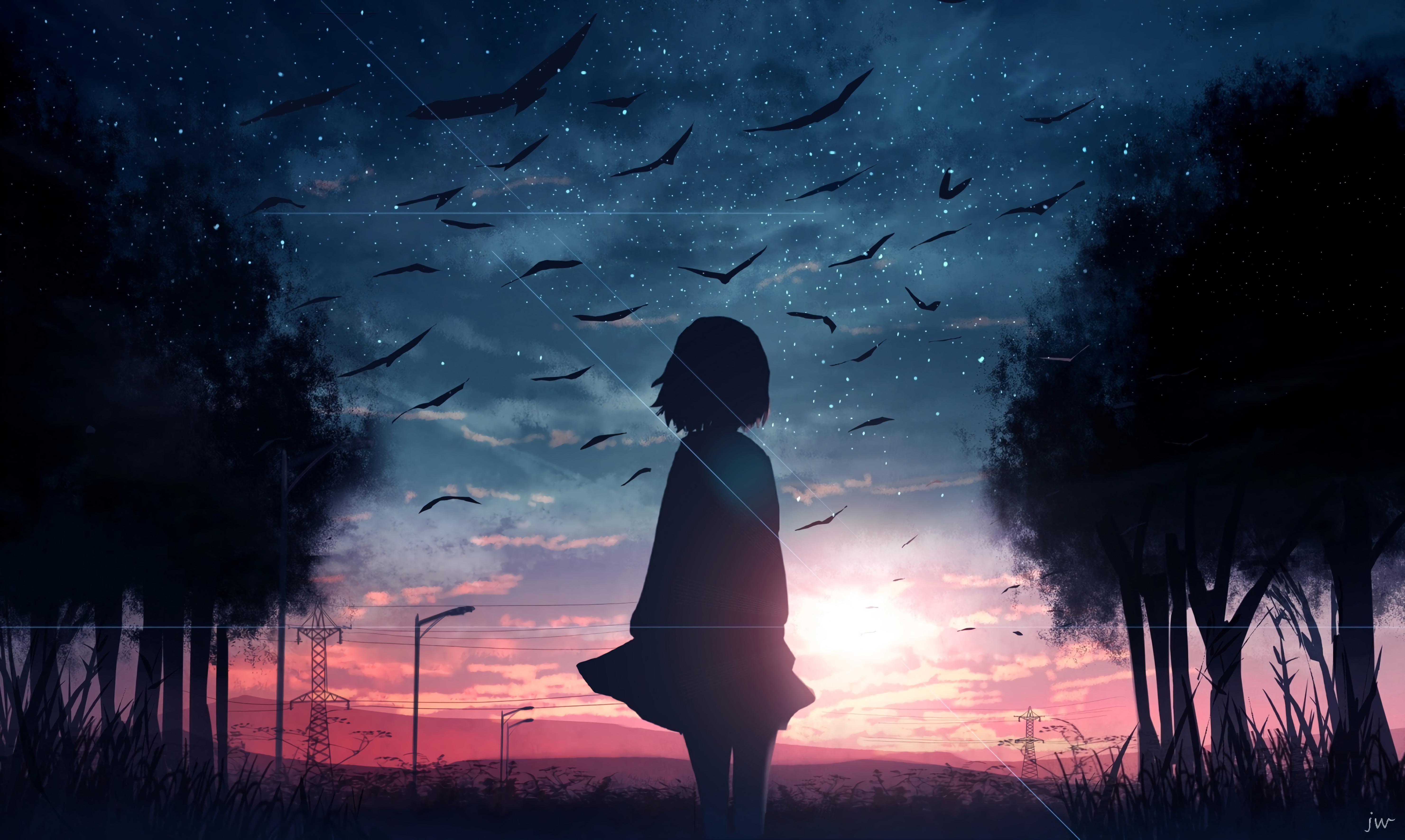 82524 Hintergrundbild herunterladen Vögel, Sunset, Kunst, Silhouette, Dämmerung, Twilight - Bildschirmschoner und Bilder kostenlos