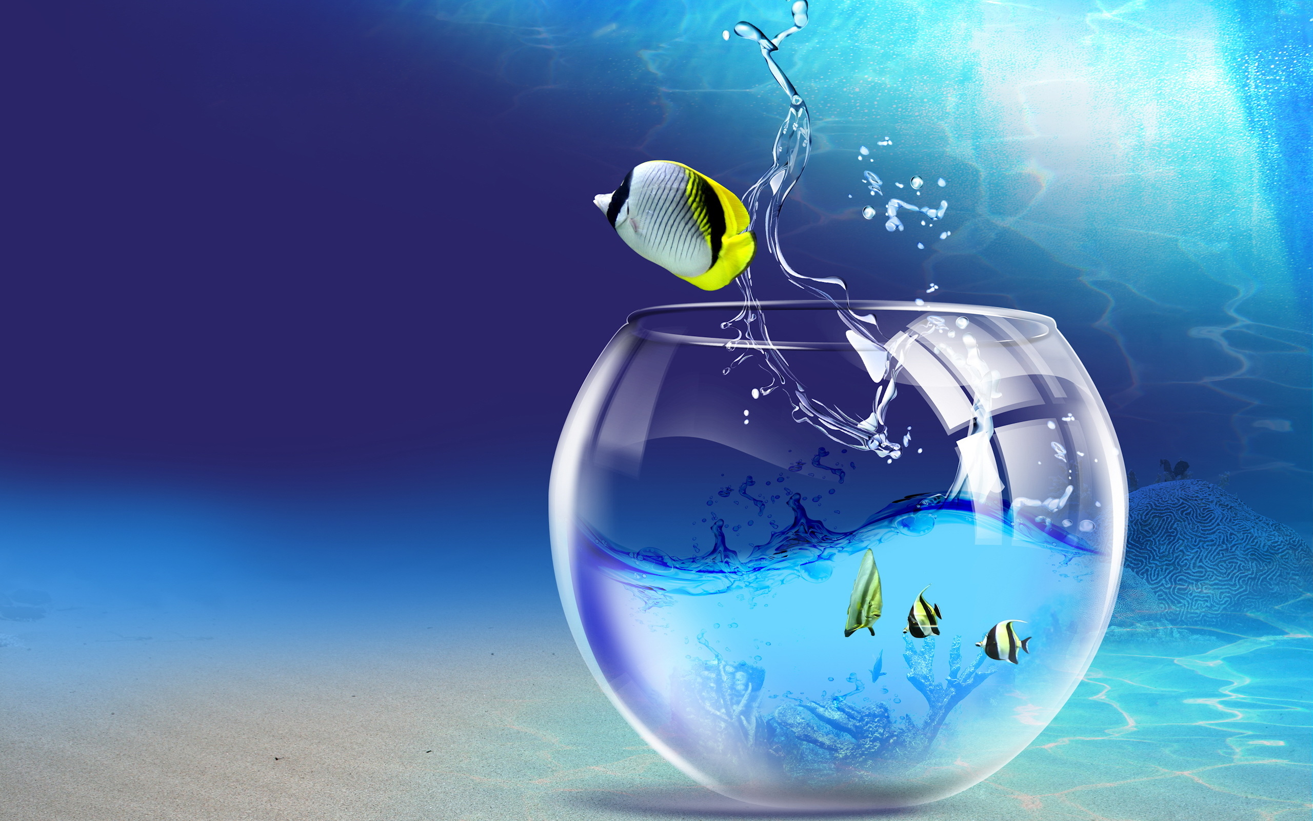 12414 download wallpaper Water, Fantasy, Art, Aquariums, Fishes screensavers and pictures for free