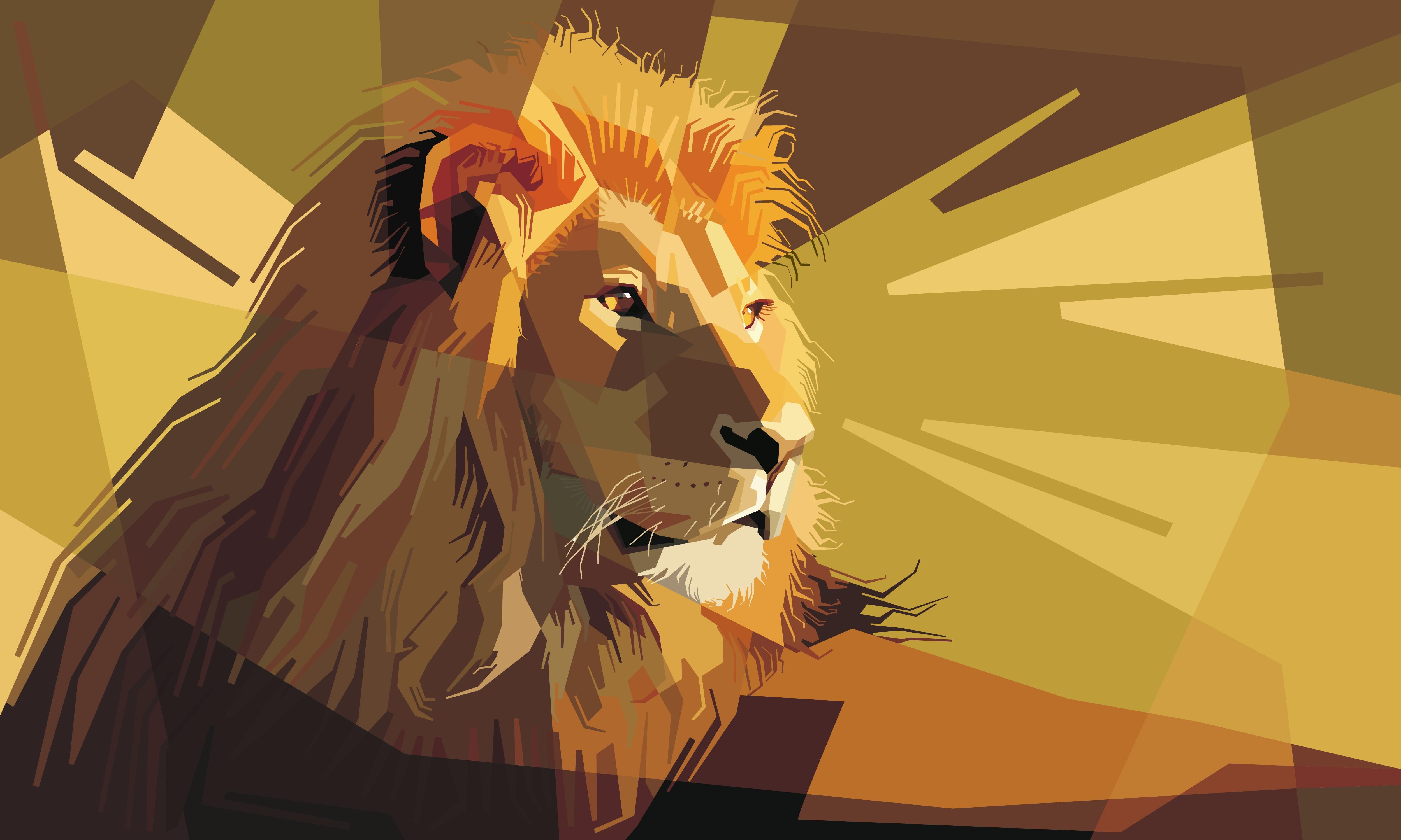 74159 Hintergrundbild herunterladen Kunst, Vektor, Linien, Ein Löwe, Löwe, Streifen - Bildschirmschoner und Bilder kostenlos