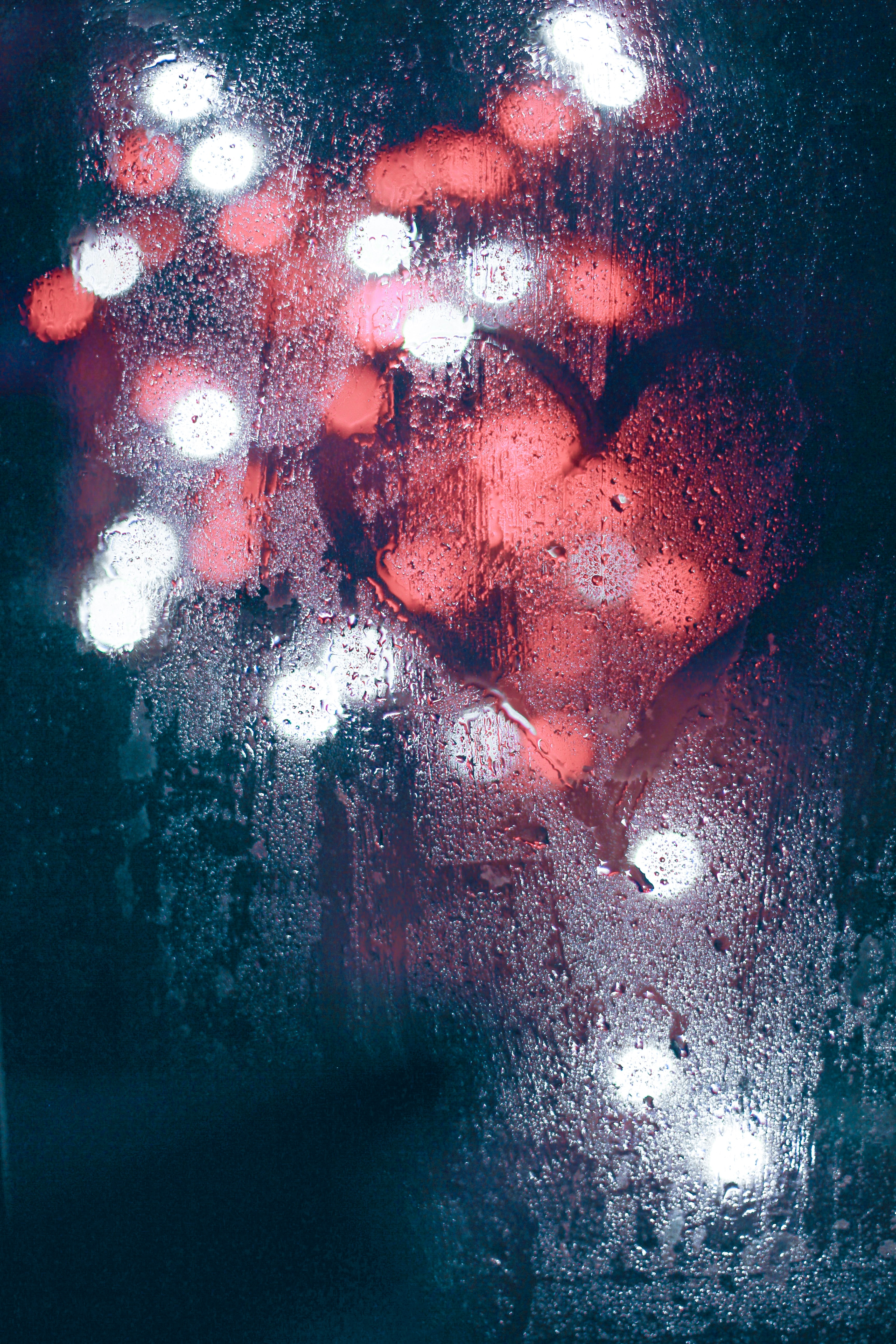 146520 download wallpaper Love, Glass, Wet, Heart, Lights, Blur, Smooth screensavers and pictures for free