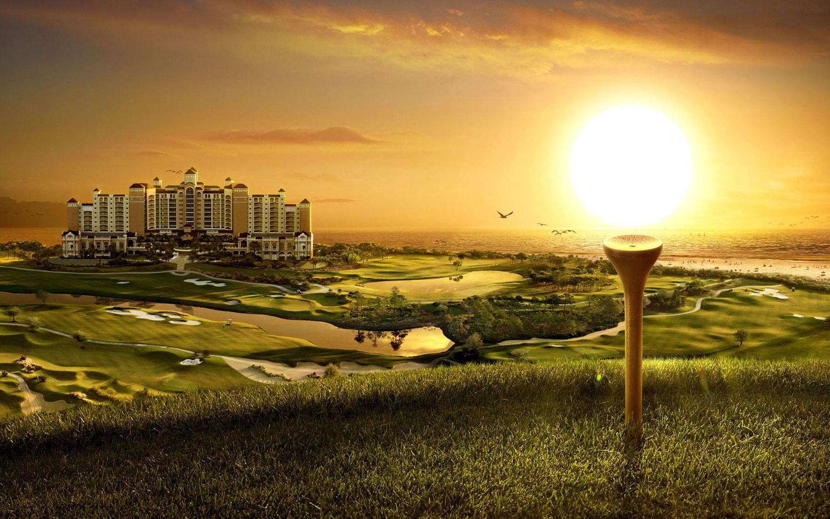 72793 download wallpaper Funny, Nature, Sunset, Fields, Art, Golf, Building, Evening, Original screensavers and pictures for free