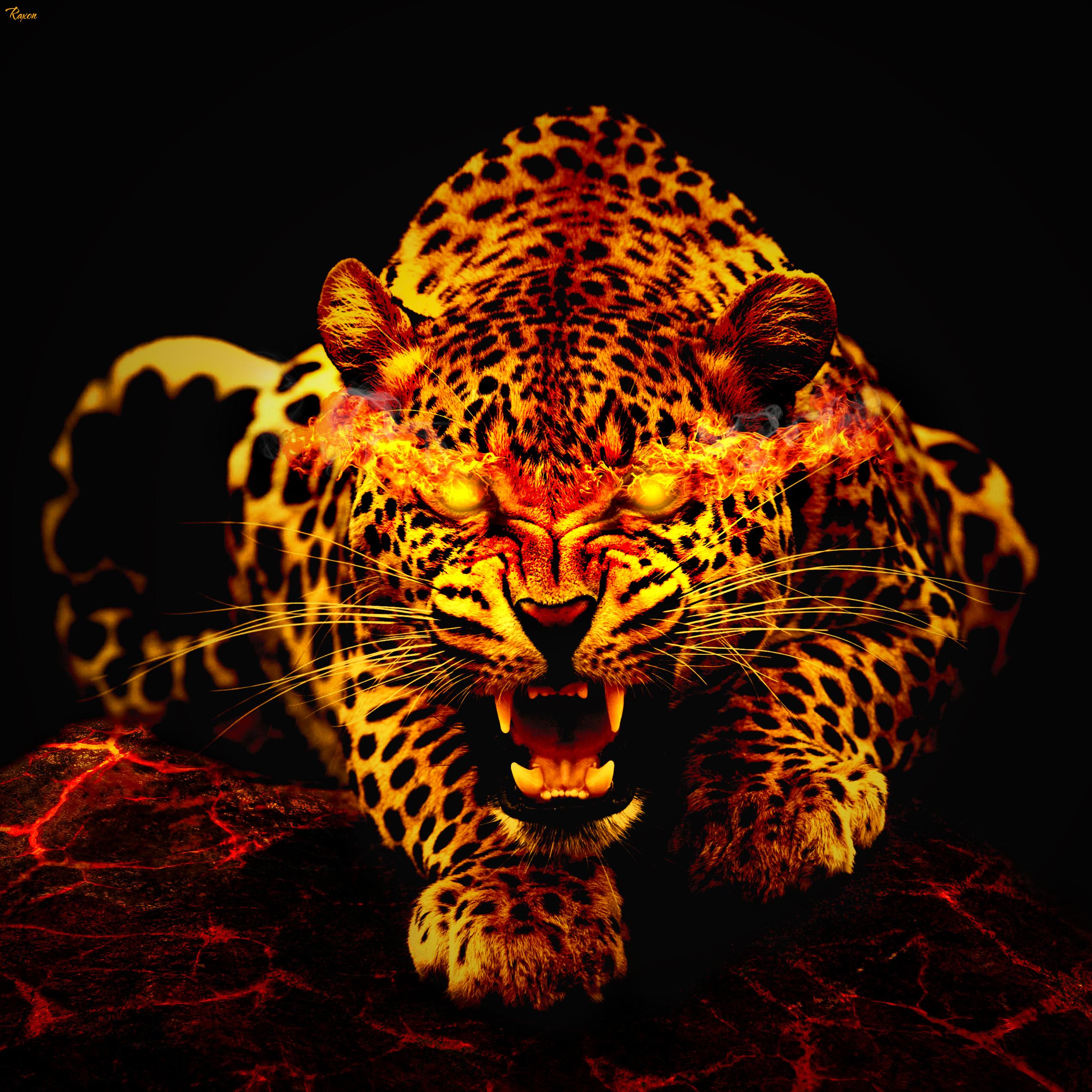 132571 скачать обои Животные, Огонь, Леопард, Пасть - заставки и картинки бесплатно