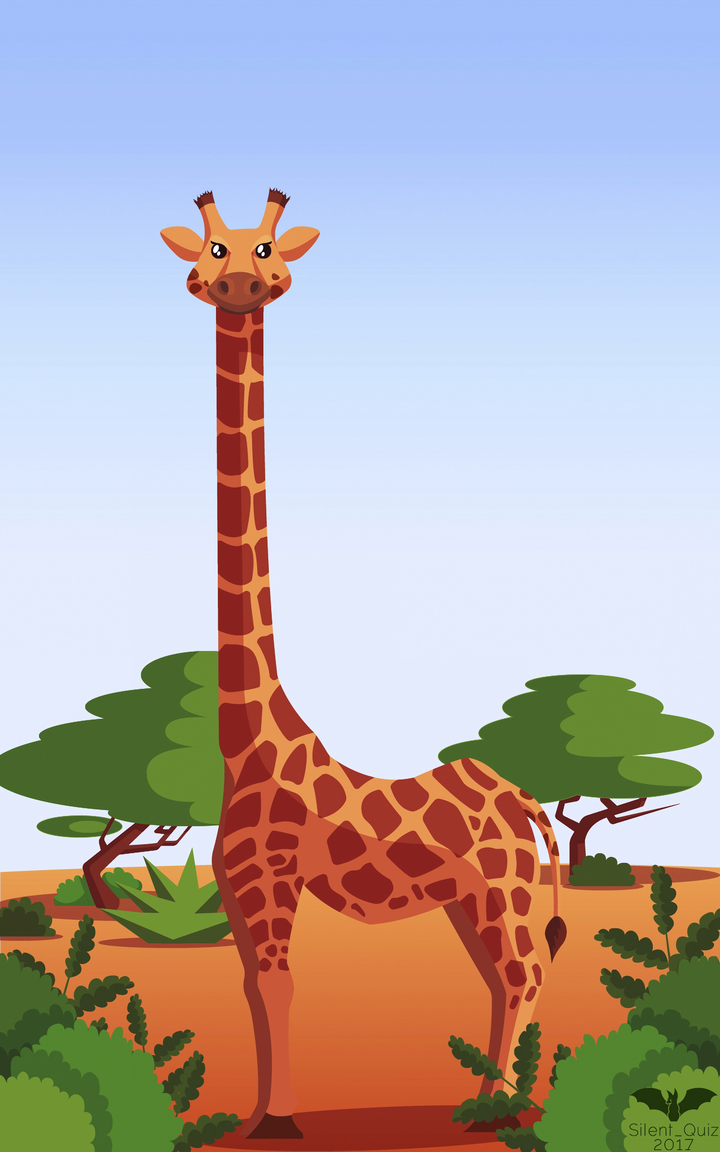 135402 download wallpaper Trees, Art, Bush, Vector, Giraffe screensavers and pictures for free