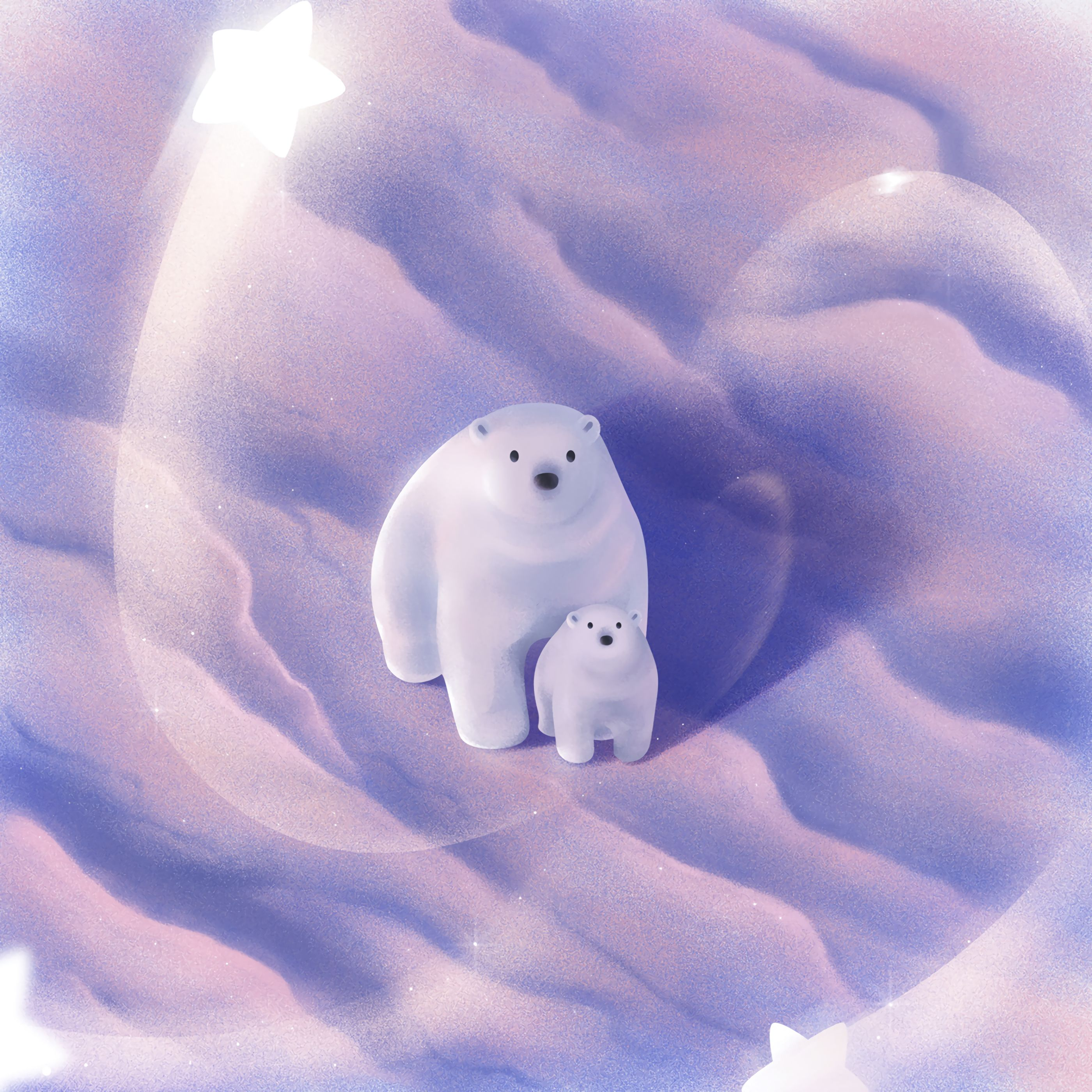 95609 Screensavers and Wallpapers Young for phone. Download Art, Snow, Young, Couple, Pair, Arctic, Joey, Cute, White Bears, Polar Bears pictures for free
