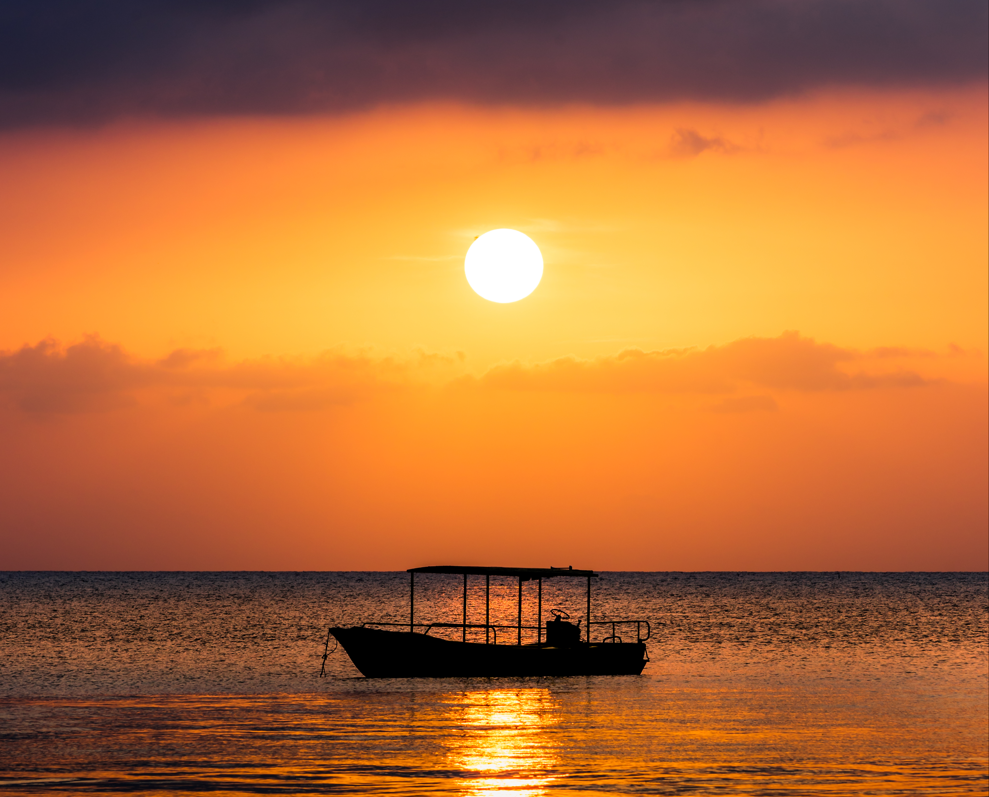 147203 Screensavers and Wallpapers Boat for phone. Download Water, Sunset, Sea, Sun, Twilight, Dark, Dusk, Boat pictures for free