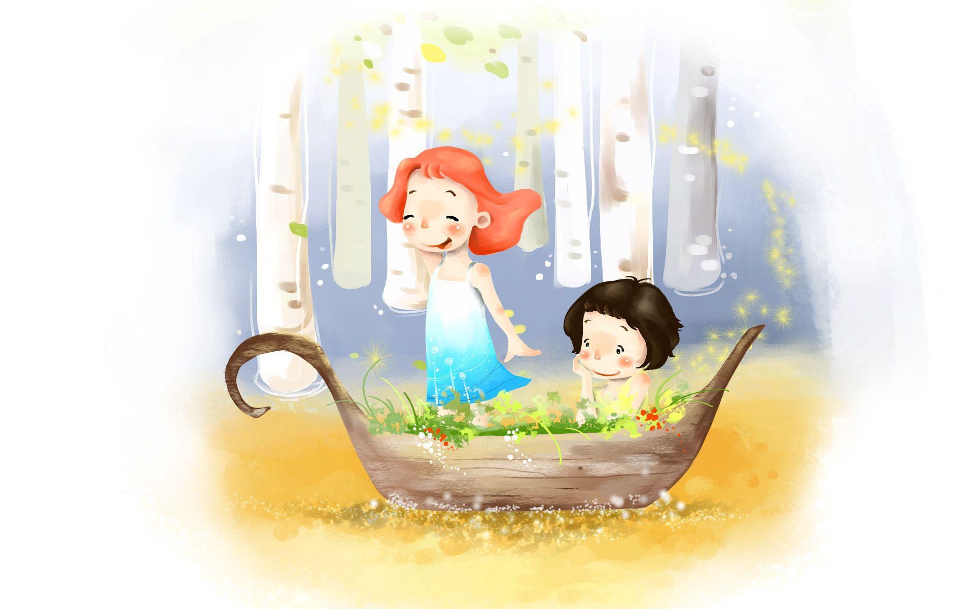 75241 скачать обои Разное, Рисунок, Девочка, Мальчик, Лодка, Берёзы, Ветер, Платье, Детство, Радость, Цветы - заставки и картинки бесплатно