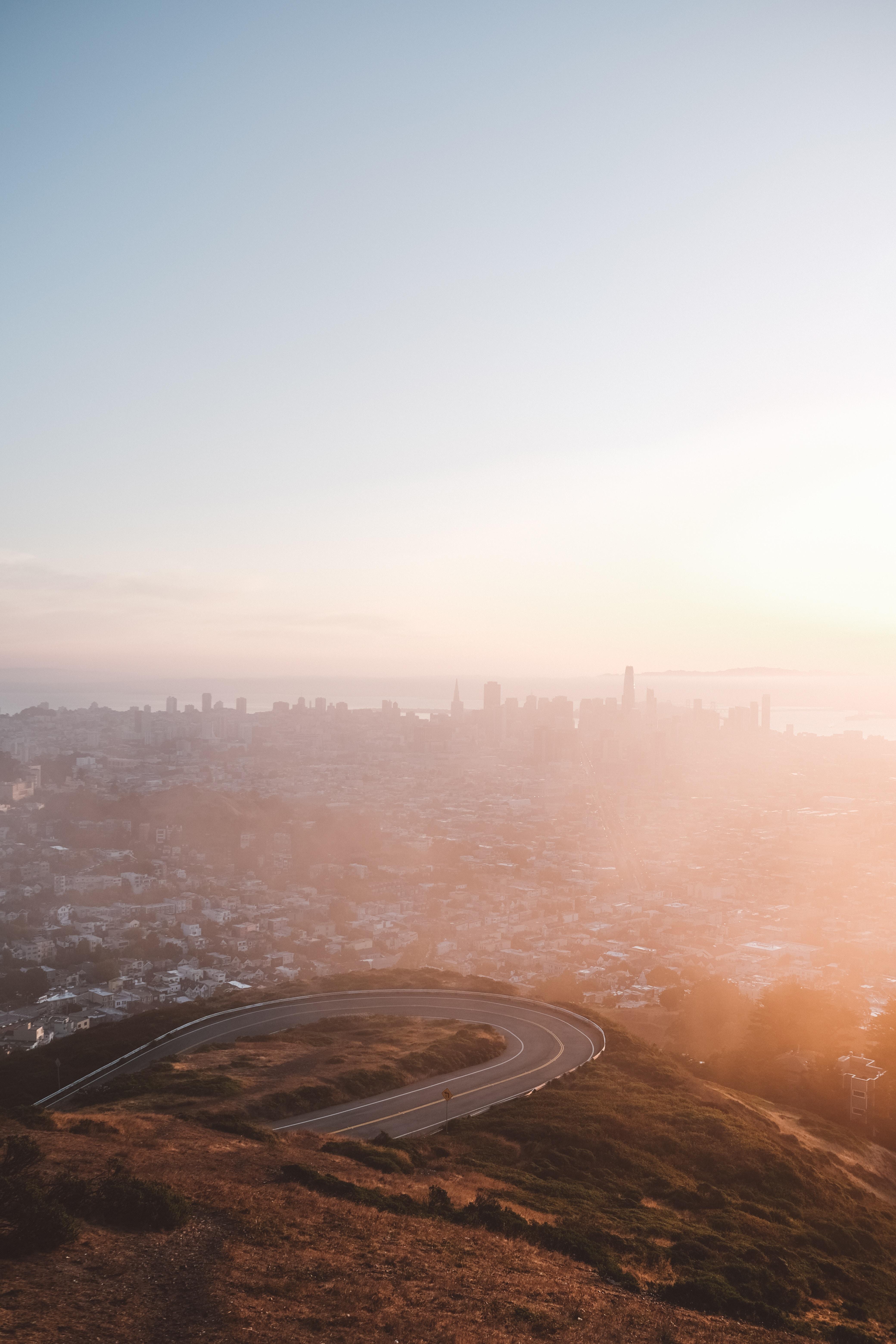 83303壁紙のダウンロード市, 都市, 霧, 上から見る, 夜明け, 都市景観, 都市 景観-スクリーンセーバーと写真を無料で