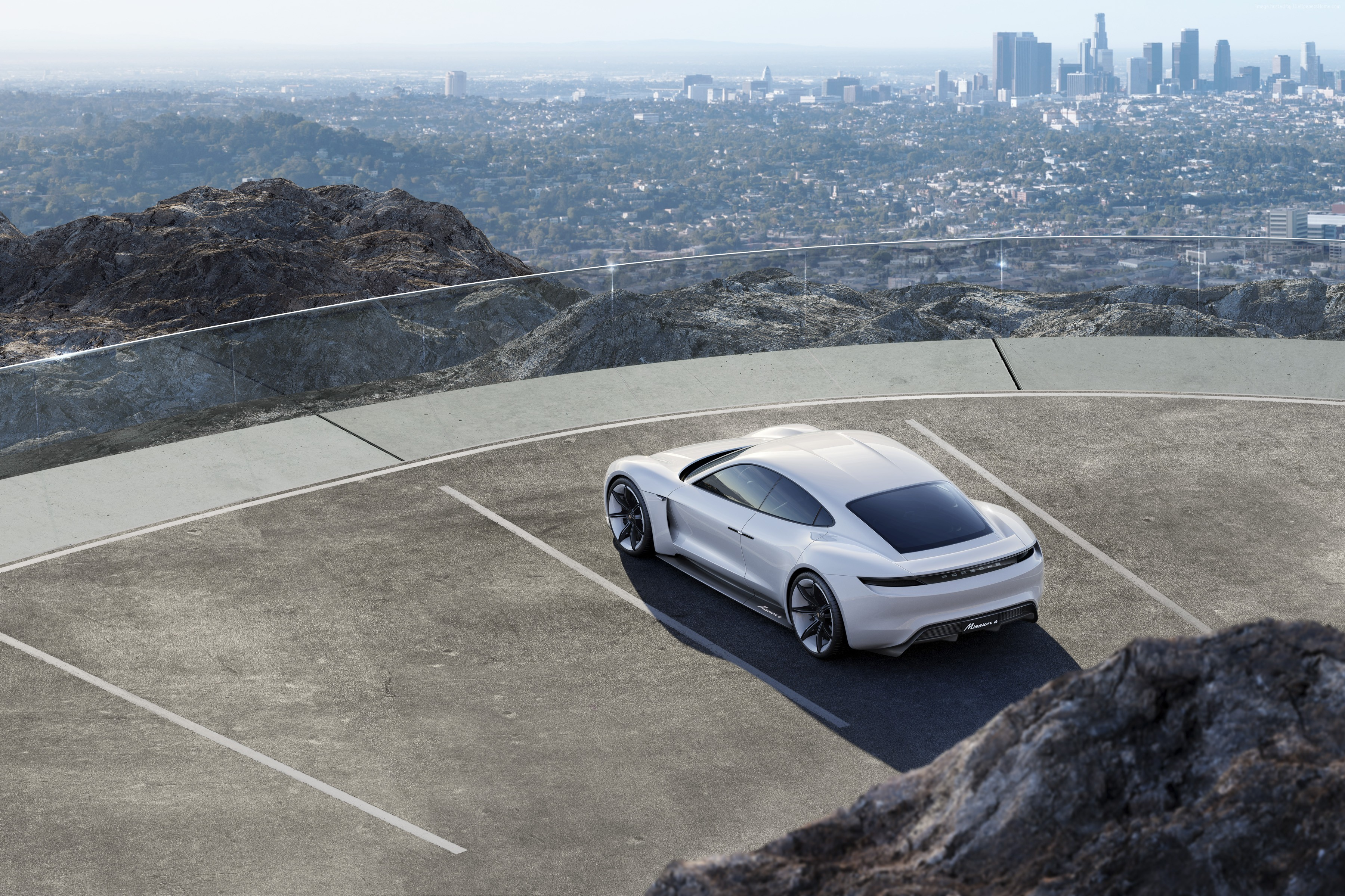 143894 Заставки и Обои Порш (Porsche) на телефон. Скачать Порш (Porsche), Тачки (Cars), Вид Сверху, Белый, Концепт, Mission E картинки бесплатно