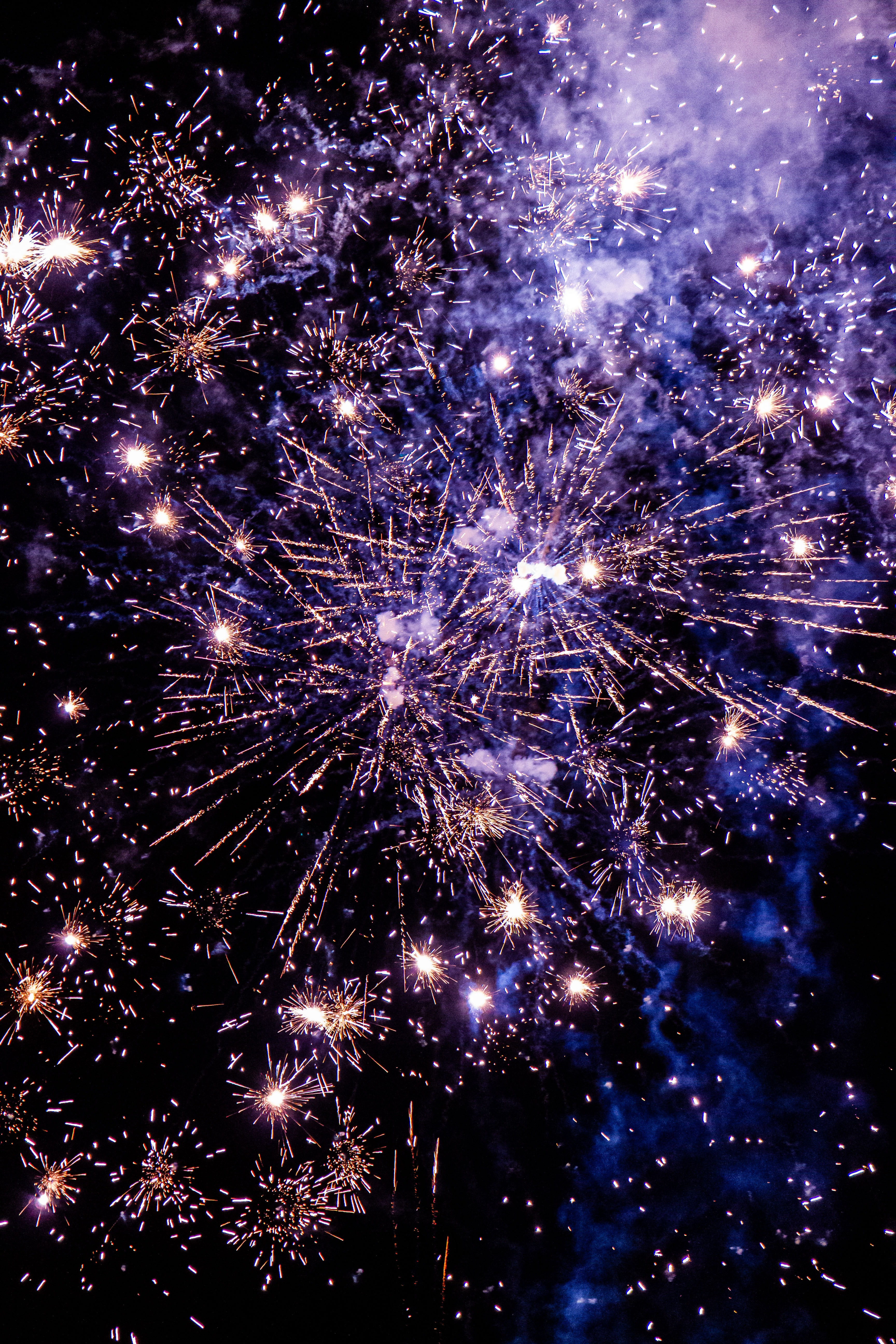 52168 Screensavers and Wallpapers Purple for phone. Download Holidays, Smoke, Violet, Sparks, Purple, Fireworks, Firework pictures for free
