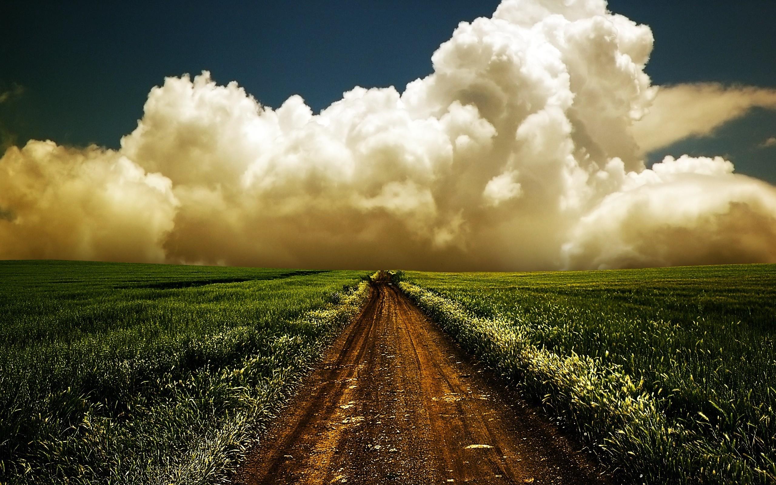 20748 скачать обои Пейзаж, Поля, Небо, Дороги, Облака - заставки и картинки бесплатно