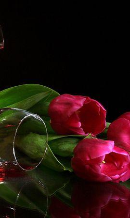 27006 скачать обои Цветы, Фон, Тюльпаны, Вино, Напитки - заставки и картинки бесплатно