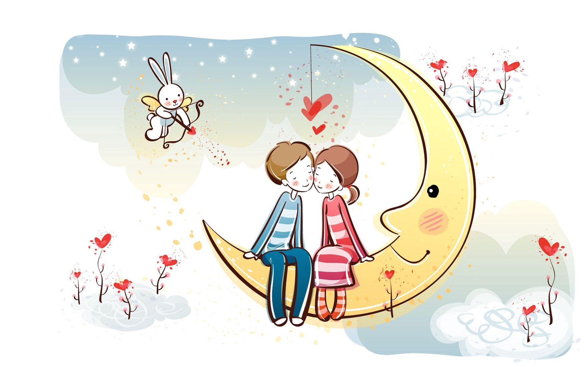 112356 télécharger le fond d'écran Lune, Coupler, Paire, Amour, Romance - économiseurs d'écran et images gratuitement