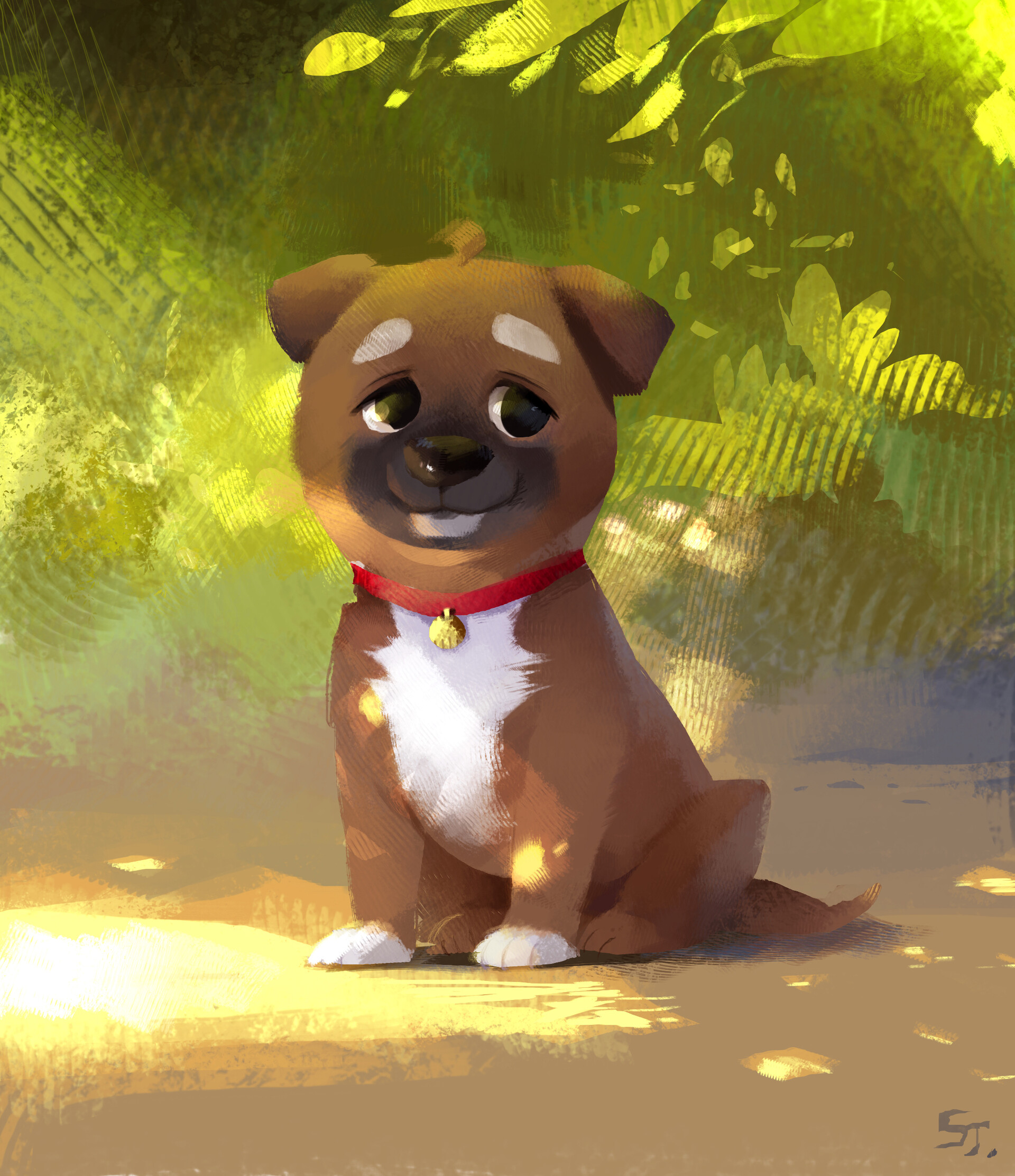 52275 download wallpaper Puppy, Dog, Nice, Sweetheart, Pet, Art screensavers and pictures for free
