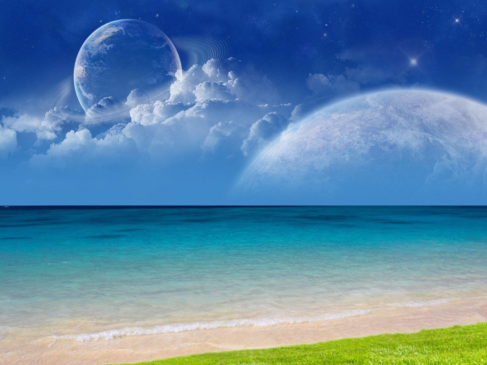 13286 скачать обои Пейзаж, Вода, Небо, Планеты, Море, Облака - заставки и картинки бесплатно