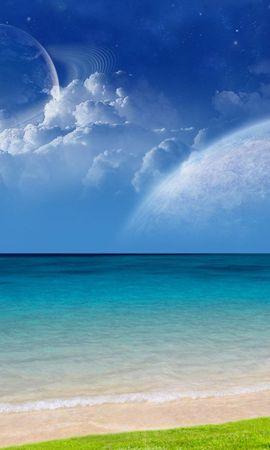 13286 télécharger le fond d'écran Paysage, Eau, Sky, Planètes, Mer, Nuages - économiseurs d'écran et images gratuitement