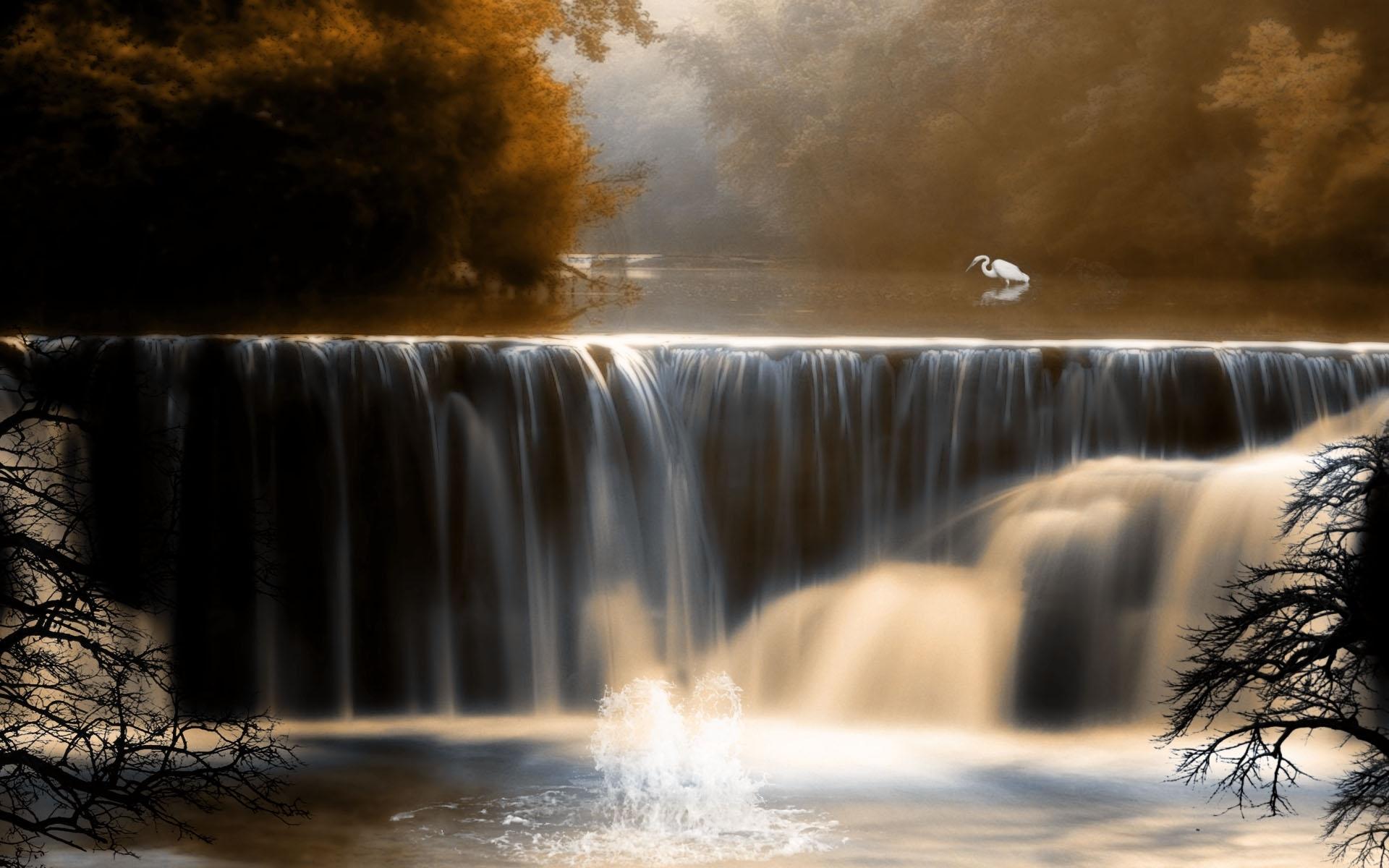 Скачать картинку Река, Водопады, Пейзаж, Птицы в телефон бесплатно.