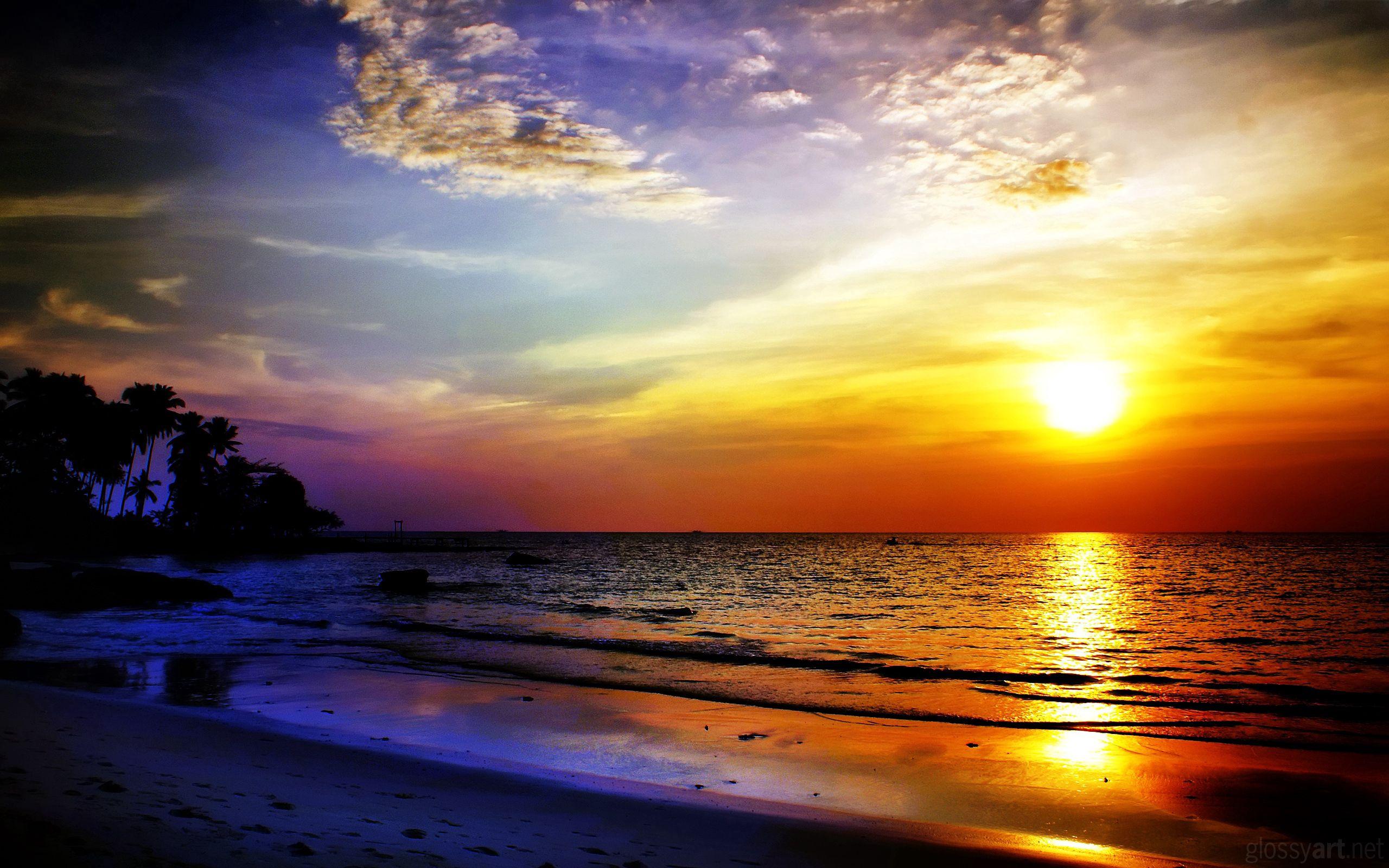 120451 скачать обои Природа, Море, Закат, Пейзаж - заставки и картинки бесплатно