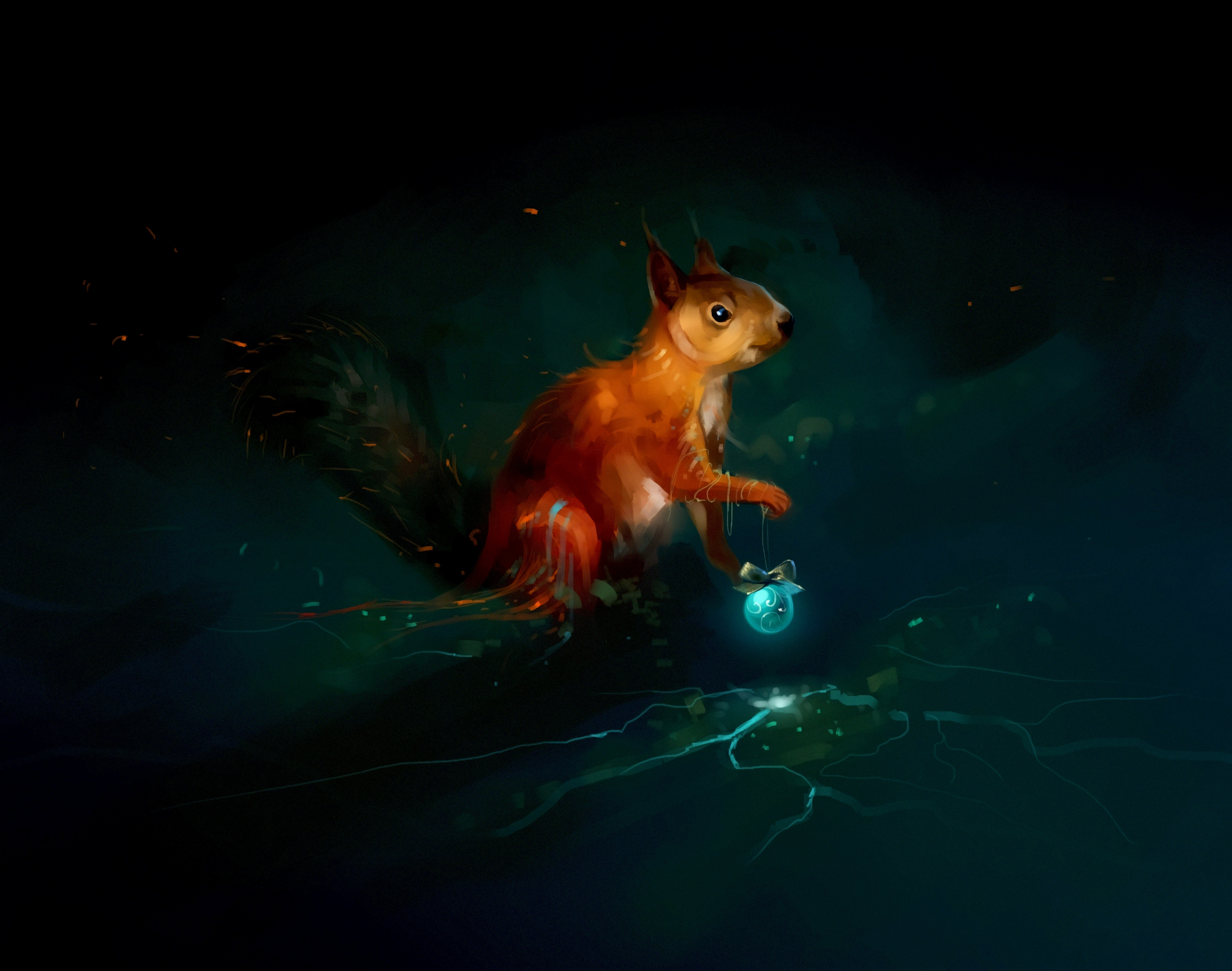 141919 Screensavers and Wallpapers Squirrel for phone. Download Squirrel, Art, Dark, Christmas Tree Toy pictures for free