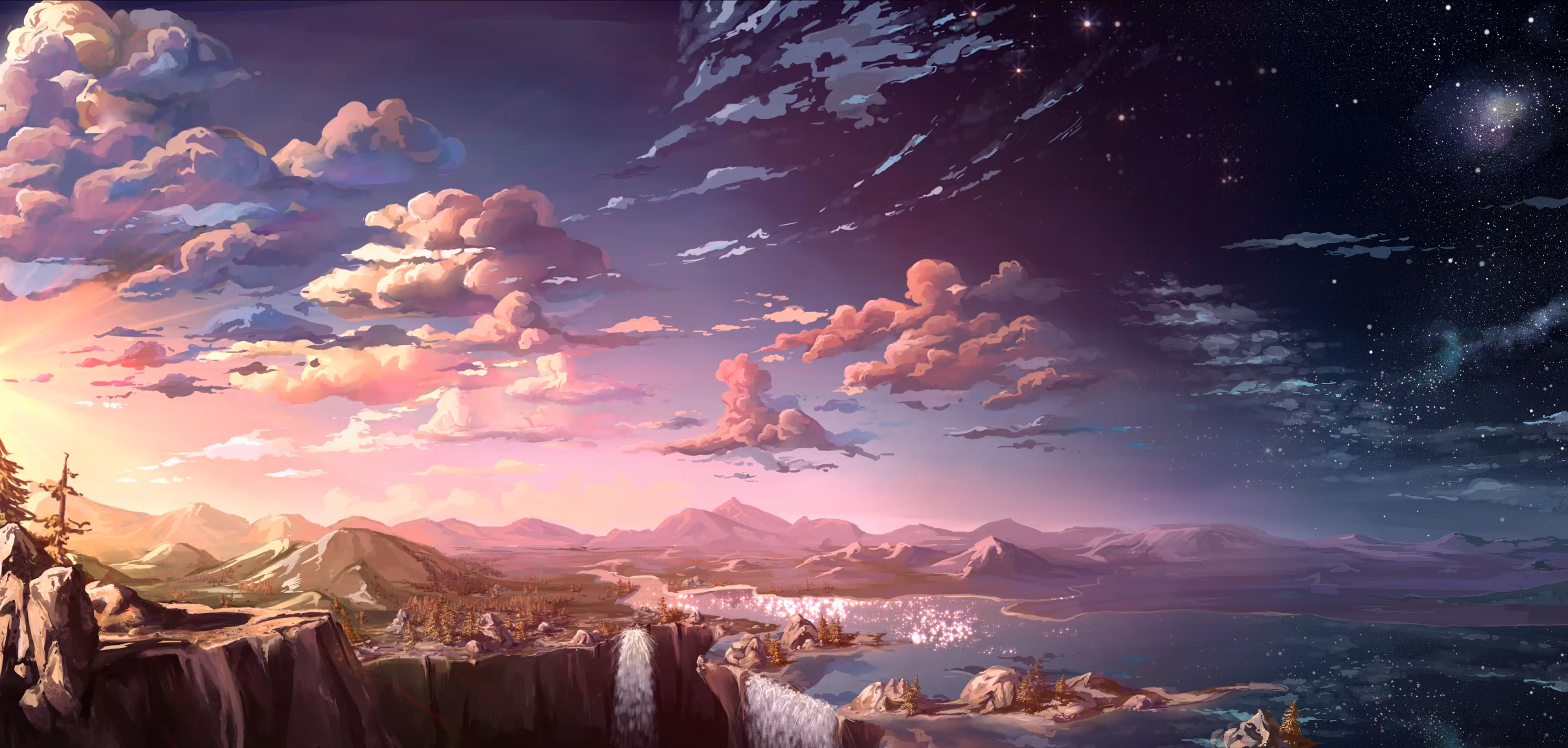 69483 télécharger le fond d'écran Montagnes, Sky, Art, Nuages, Cascades - économiseurs d'écran et images gratuitement