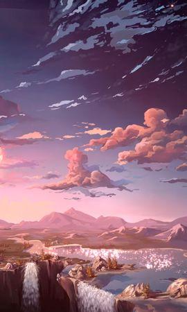 69483壁紙のダウンロード雲, アート, スカイ, 山脈, 滝-スクリーンセーバーと写真を無料で