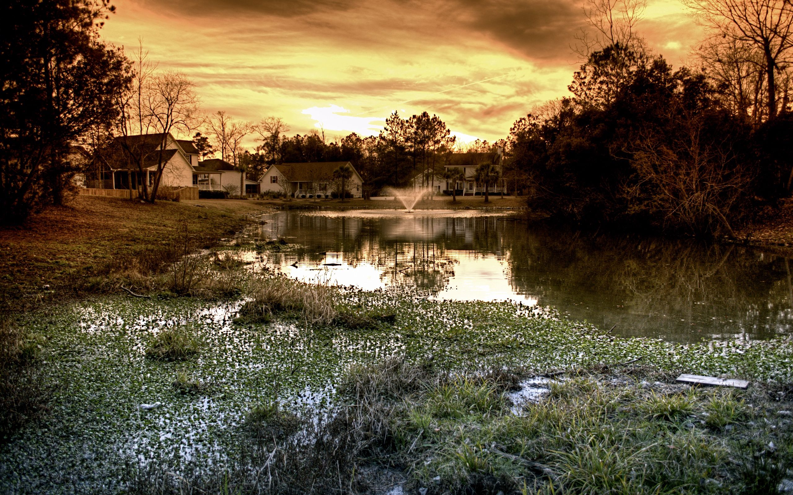 64871 Screensavers and Wallpapers Fountain for phone. Download Nature, Houses, Fountain, Evening, Mainly Cloudy, Overcast, Pond pictures for free