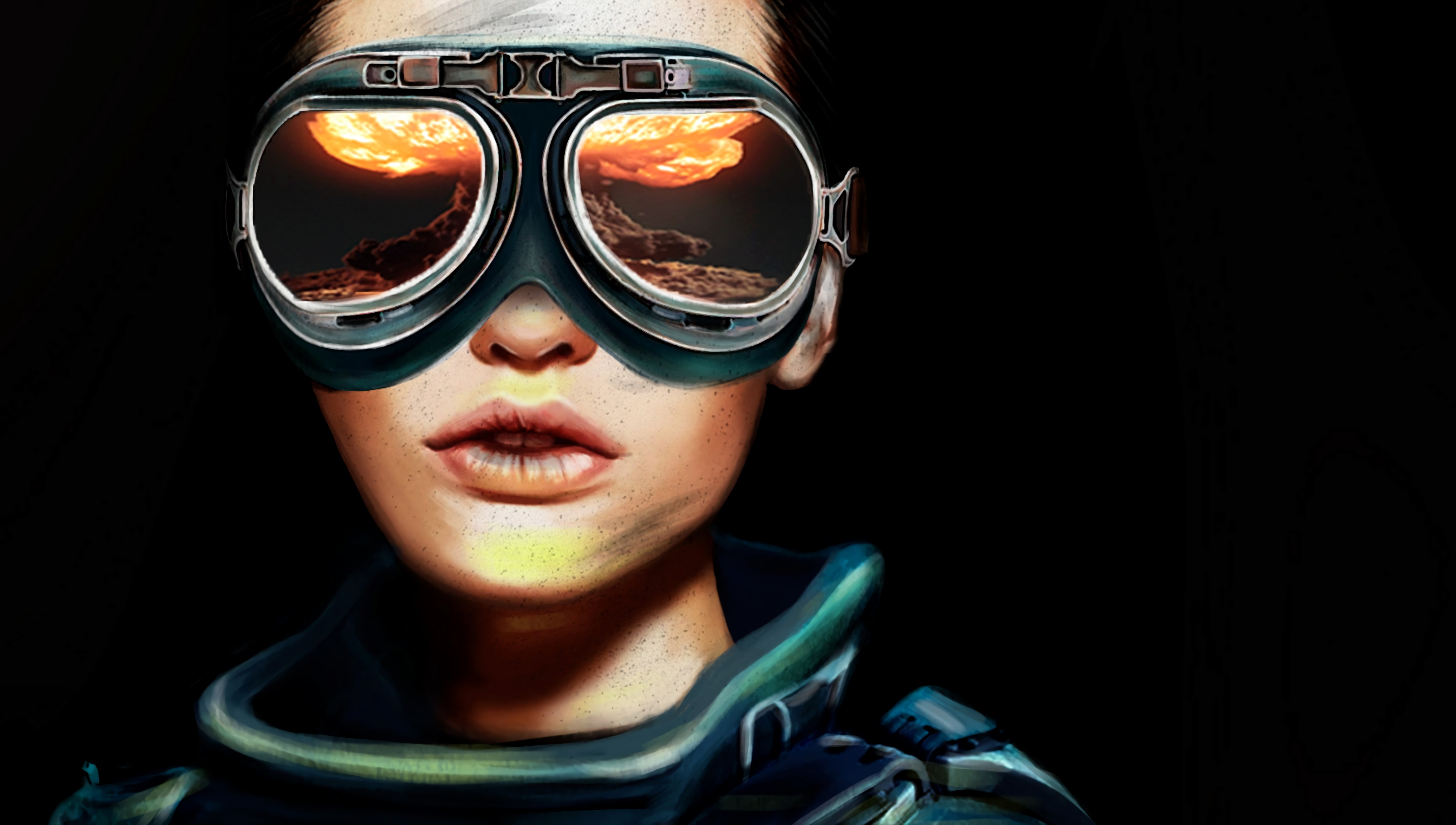 98951 download wallpaper Art, Glasses, Spectacles, Portrait, Aviator, Reflection screensavers and pictures for free