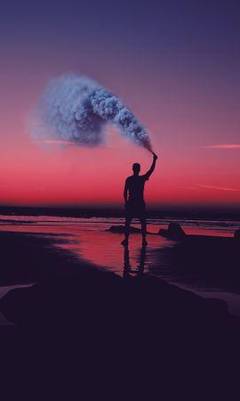 127473 baixar papel de parede Escuro, Humano, Pessoa, Silhueta, Costa, Banco, Pôr Do Sol, Mar, Asilah, Asila, Marrocos, Fumar - protetores de tela e imagens gratuitamente