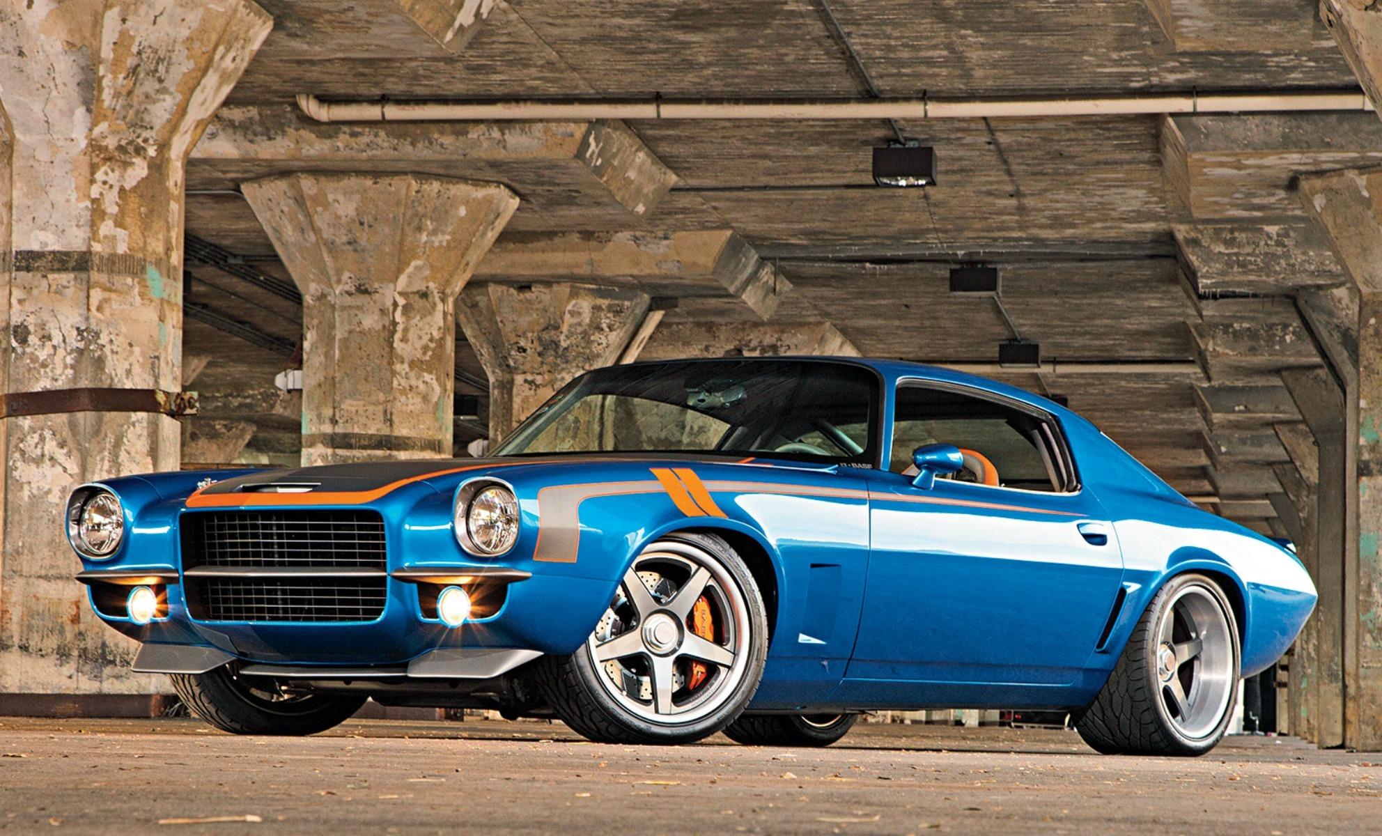 77869 скачать обои Тачки (Cars), Шевроле (Chevrolet), Camaro, 1971, Chevrolet Camaro, Синий, Вид Сбоку - заставки и картинки бесплатно