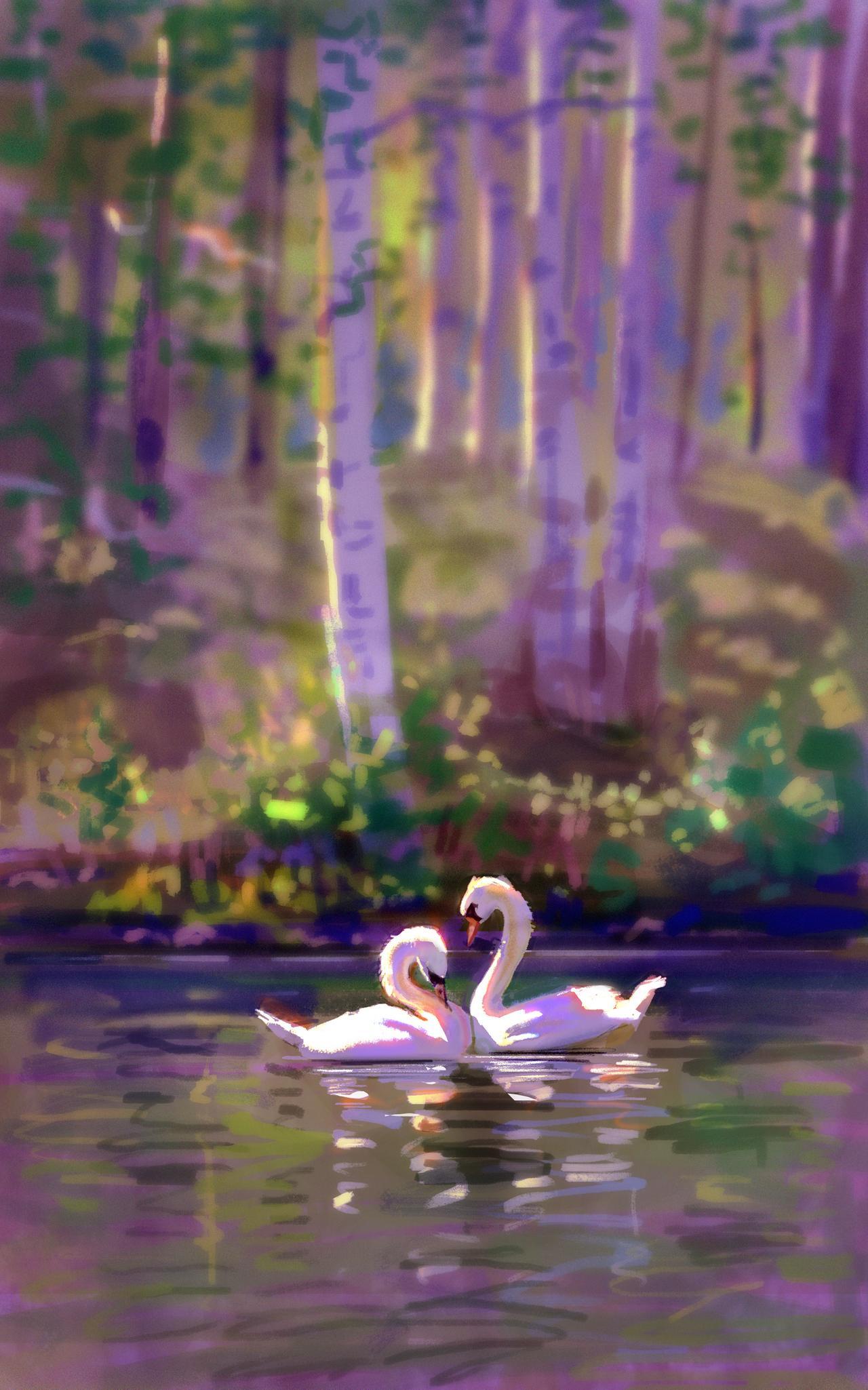 55766 Hintergrundbild herunterladen Vögel, Kunst, Swans, Liebe, Paar - Bildschirmschoner und Bilder kostenlos