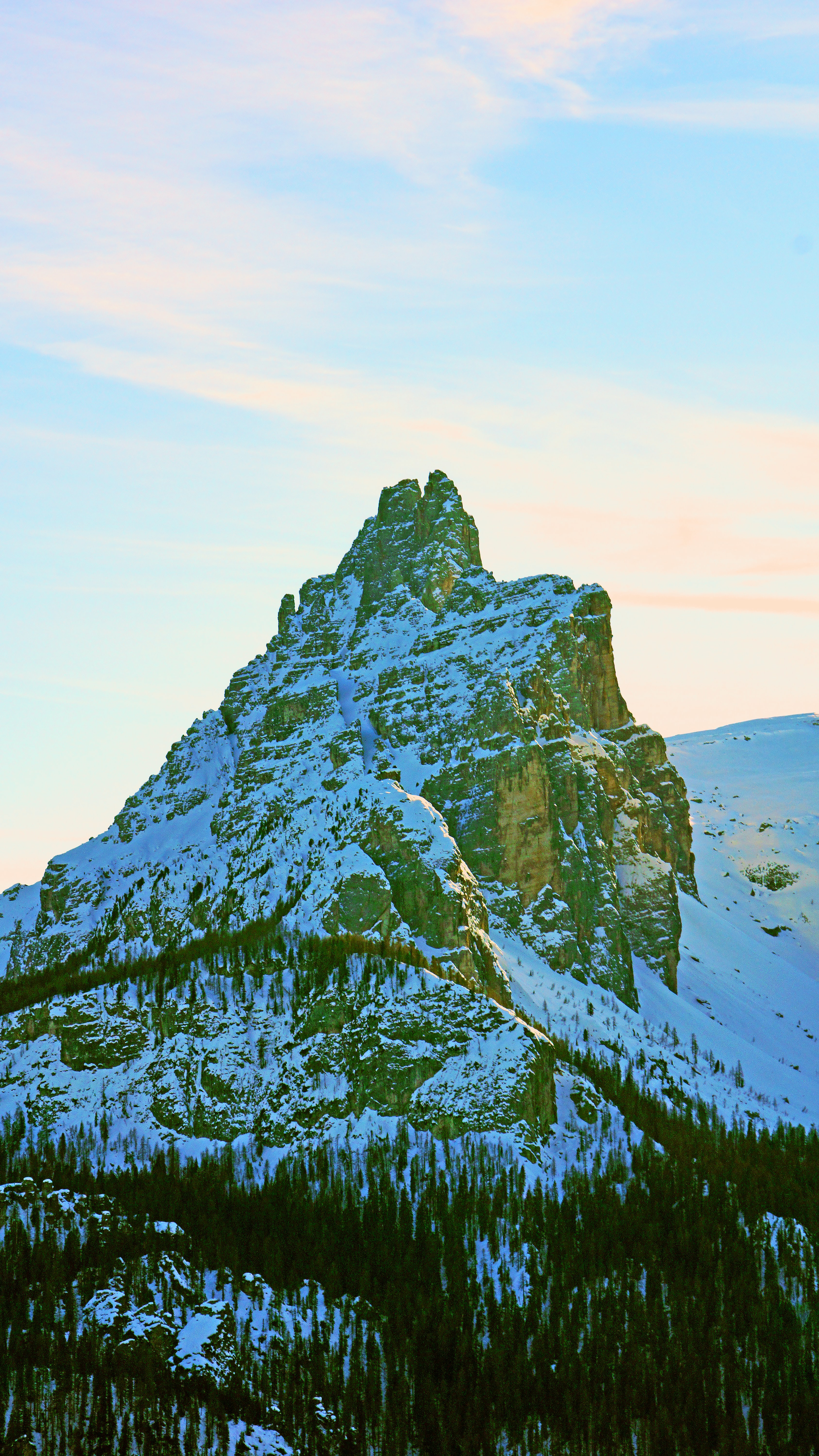 100973 download wallpaper Nature, Vertex, Top, Mountain, Rocks, Trees, Snow, Snow Covered, Snowbound screensavers and pictures for free