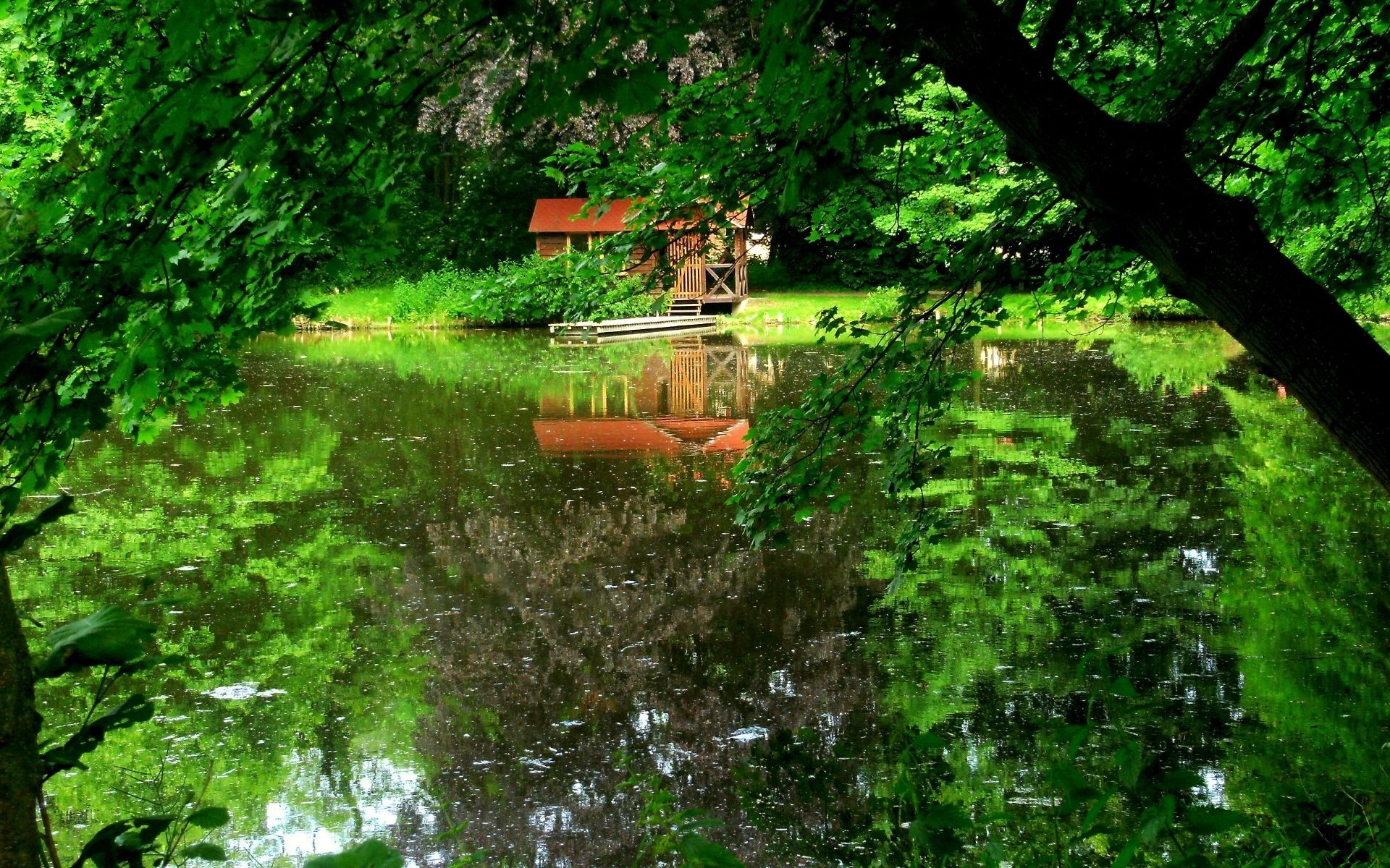 71566 Screensavers and Wallpapers Small House for phone. Download Nature, Trees, Summer, Lake, Reflection, Small House, Lodge, Wharf, Berth pictures for free