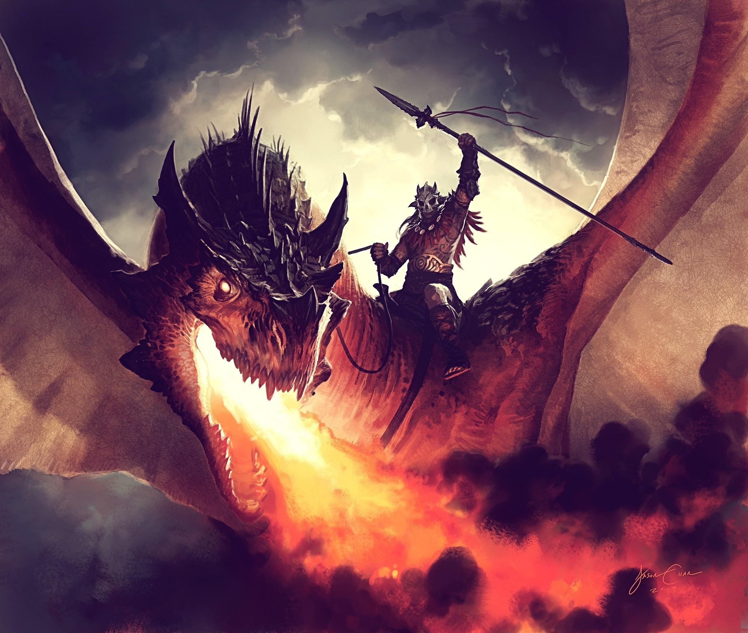 145332 Hintergrundbild herunterladen Kunst, Feuer, Fahrer, Der Drache, Drachen, Reiter, Jason Chan - Bildschirmschoner und Bilder kostenlos