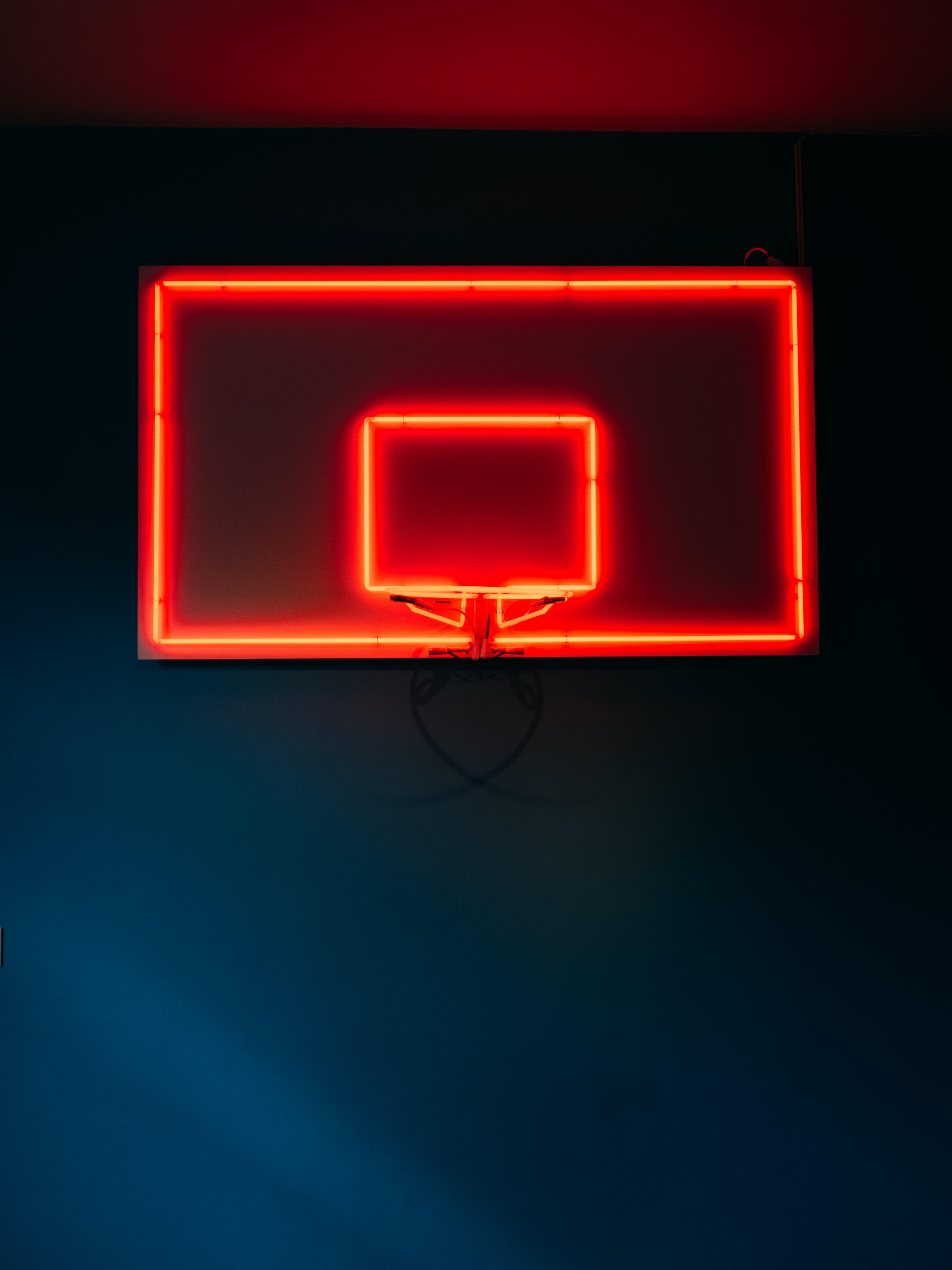 144802 скачать обои Спорт, Баскетбольное Кольцо, Баскетбол, Неон, Свет, Красный - заставки и картинки бесплатно