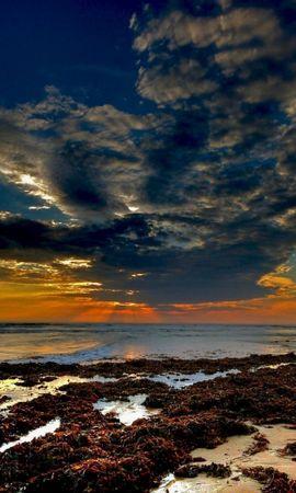 28011 скачать обои Пейзаж, Закат, Море, Облака, Пляж - заставки и картинки бесплатно